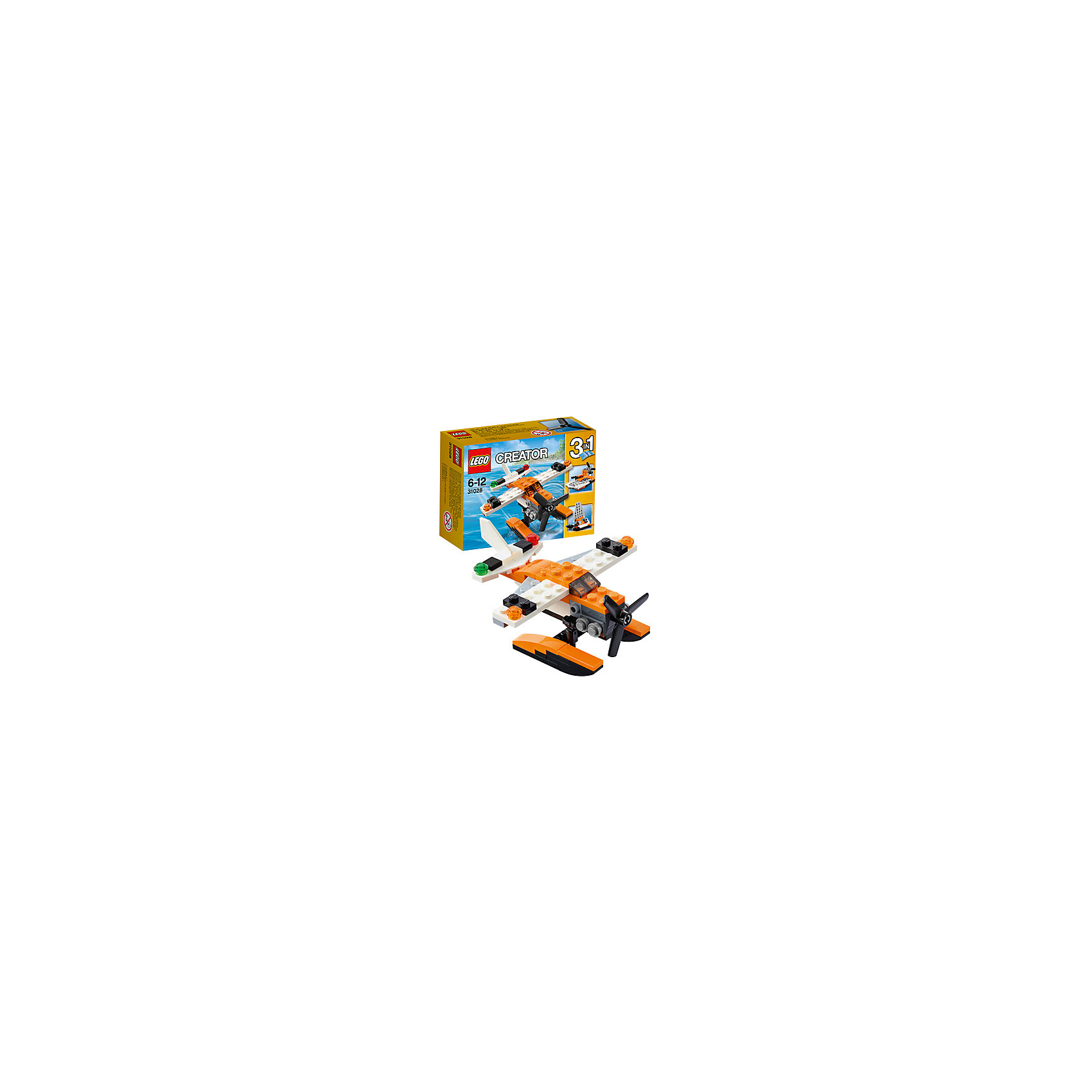 LEGO Creator 31028: ГидропланС набором LEGO Creator (ЛЕГО Криэйтор) 31028: Гидроплан ребенок сможет сконструировать сразу три варианта морского транспорта. Самолет, оснащенный водными лыжами, трансформируется в легкий прогулочный катамаран. Немного усилий — к спуску готов миниатюрный катер. Основной задачей гидроплана является патрулирование береговой линии и оказание помощи всем, кто попал в беду на воде. Это первоклассный летательный аппарат с оранжево-белым корпусом, большим трехлопастным пропеллером, детализированным двигателем, навигационными огнями на крыльях, тонированной кабиной пилота и большими поплавками на днище для приводнения практически на любой водоем. <br><br>С помощью конструкторов серии ЛЕГО Криэйтор малыш учится собственными руками создавать что-то новое, познает устройство окружающей действительности, развивает мышление и творческие навыки. Особенность этой серии в том, что у одного набора существует 3 готовых варианта сборки. Но также ребенок может проявлять собственную фантазию и собирать то, что ему захочется. В серию входят стандартные кубики, из которых можно собрать дома, автомобили и многое другое. Все выпускаемые конструкторы ЛЕГО Криэйтор  взаимозаменяемы, поэтому детали от любого набора прекрасно подойдут к уже имеющемуся конструктору.<br><br>Дополнительная информация:<br>-Размер упаковки: 12,2x9,1x4,7 см<br>-Размер самолета на водных лыжах: 5 х 10 х 9 см<br>-Размер катера: 5 х 8 х 4 см<br>-Размер катамарана: 8 х 8 х 4 см<br>-Вес: 0,07 кг<br>-Деталей: 53 шт.<br>-Материал: пластик<br>-Весь набор упакован в фирменную картонную коробку ЛЕГО<br><br>LEGO Creator (ЛЕГО Криэйтор)31028: Гидроплан можно купить в нашем магазине.<br><br>Ширина мм: 124<br>Глубина мм: 91<br>Высота мм: 48<br>Вес г: 76<br>Возраст от месяцев: 72<br>Возраст до месяцев: 144<br>Пол: Мужской<br>Возраст: Детский<br>SKU: 3786108