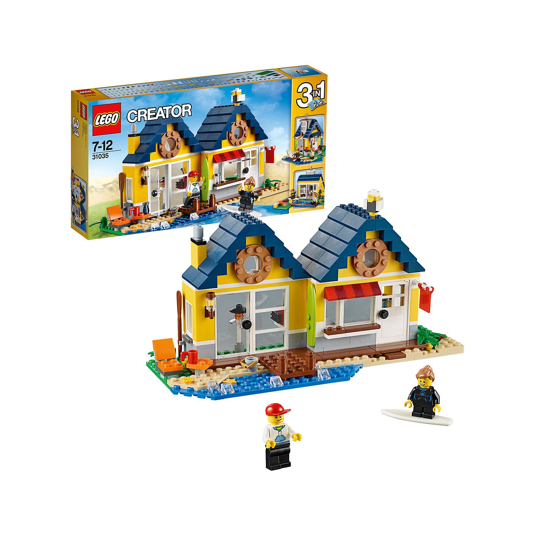 LEGO Creator 31035: Домик на пляжеИдеи подарков<br>LEGO Creator (ЛЕГО Криэйтор) 31035: Домик на пляже – это мечта любого серфингиста, ведь в нем есть все необходимое для отличного отдыха и занятий спортом. Изучив подробную схему, малыш сможет собрать домик на 2 комнаты, каждая из которых имеет свой вход и интерьер. Внешние стены выкрашены в желтый цвет, а крыша выложена синей черепицей. Перед входом находится песчаный пляж и деревянный пирс, ведущий в море. На пляже можно установить столик с напитками и шезлонг. На стенах дома располагаются крепления для фонаря, весла и досок для серфинга. Немного фантазии и смекалки, и уютный домик способен трансформироваться в настоящий магазин спортивного инвентаря или летнюю хижину с бассейном.<br><br>С помощью конструкторов серии ЛЕГО Криэйтор малыш учится собственными руками создавать что-то новое, познает устройство окружающей действительности, развивает мышление и творческие навыки. Особенность этой серии в том, что у одного набора существует 3 готовых варианта сборки. Но также ребенок может проявлять собственную фантазию и собирать то, что ему захочется. В серию входят стандартные кубики, из которых можно собрать дома, автомобили и многое другое. Все выпускаемые конструкторы ЛЕГО Криэйтор  взаимозаменяемы, поэтому детали от любого набора прекрасно подойдут к уже имеющемуся конструктору.<br><br>Дополнительная информация:<br>-Количество деталей: 286 шт.<br>-Размер упаковки: 35,4x19,1x5,9 см<br>-Размеры домика: 13 х 10 х 26 см<br>-Размеры магазина: 24 х 13 х 16 см<br>-Размеры хижины с бассейном: 12 х 20 х 19 см<br>-Вес: 0,59 кг<br>-Материал: пластик<br><br>LEGO Creator (ЛЕГО Криэйтор) 31035: Домик на пляже можно купить в нашем магазине.<br><br>Ширина мм: 355<br>Глубина мм: 190<br>Высота мм: 60<br>Вес г: 576<br>Возраст от месяцев: 84<br>Возраст до месяцев: 144<br>Пол: Унисекс<br>Возраст: Детский<br>SKU: 3786115