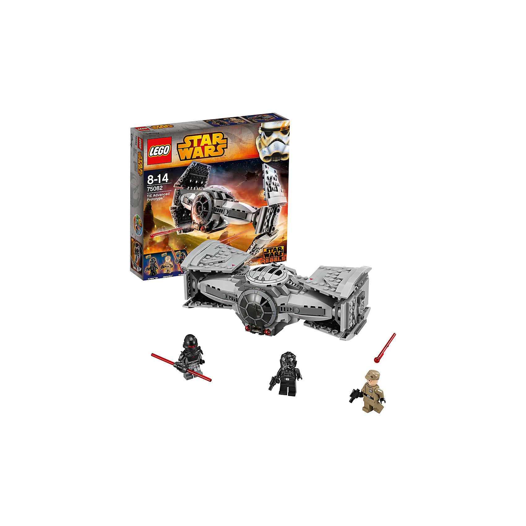 LEGO Star Wars 75082: Улучшенный Прототип TIE Истребителя (TIE Advanced Prototype™)Игрушки<br>В наборе LEGO Star Wars (ЛЕГО Звездные Войны) 75082: Улучшенный Прототип TIE Истребителя (TIE Advanced Prototype™) вы найдете детализированную модель усовершенствованного прототипа звездолета TIE со множеством подвижных деталей: люк кабины снимается (можно посадить фигурку), крылья истребителя складываются. Складные крылья представляют собой массивные энергетические батареи. Они способны накапливать излучение и преобразовывать его в боевые заряды. Мощь удара настолько велика, что способна полностью уничтожить звездолет противника. В комплектации также 3 мини-фигурки с оружием (имперский офицер, пилот истребителя TIE и Инквизитор). Все ключевые моменты и захватывающие космические приключения из разных эпизодов известнейшего фильма «Звездные Войны» в качестве увлекательного конструктора у Вас дома!<br><br>LEGO Star Wars (ЛЕГО Звездные войны) – это тематическая серия детских развивающих конструкторов по мотивам приключенческого мультфильма 2014 года «Звездные войны: Повстанцы». Ребенок сможет часами играть с конструктором, придумывая различные ситуации и истории из любимого мультфильма. В процессе игры с конструктором дети приобретают и постигают такие необходимые навыки как познание, творчество, воображение. Большое количество дополнительных элементов делает игровые сюжеты по-настоящему захватывающими и реалистичными. Все наборы ЛЕГО Звездные Войны соответствуют самым высоким европейским стандартам качества и абсолютно безопасны. <br><br>Дополнительная информация:<br>-Состав: 355 деталей, 3 мини-фигурки (инквизитор, пилот истребителя, имперский офицер), инструкция по сборке<br>-Размеры в упаковке: 28х26х5,6 см<br>-Размер звездолета 13 х 20 х 8<br>-Материал: пластик<br><br>LEGO Star Wars (ЛЕГО Звездные Войны) 75082: Улучшенный Прототип TIE Истребителя (TIE Advanced Prototype™) можно купить в нашем магазине.<br><br>Ширина мм: 284<br>Глубина мм: 266<br>Высота мм: 63<br>Вес г: 52