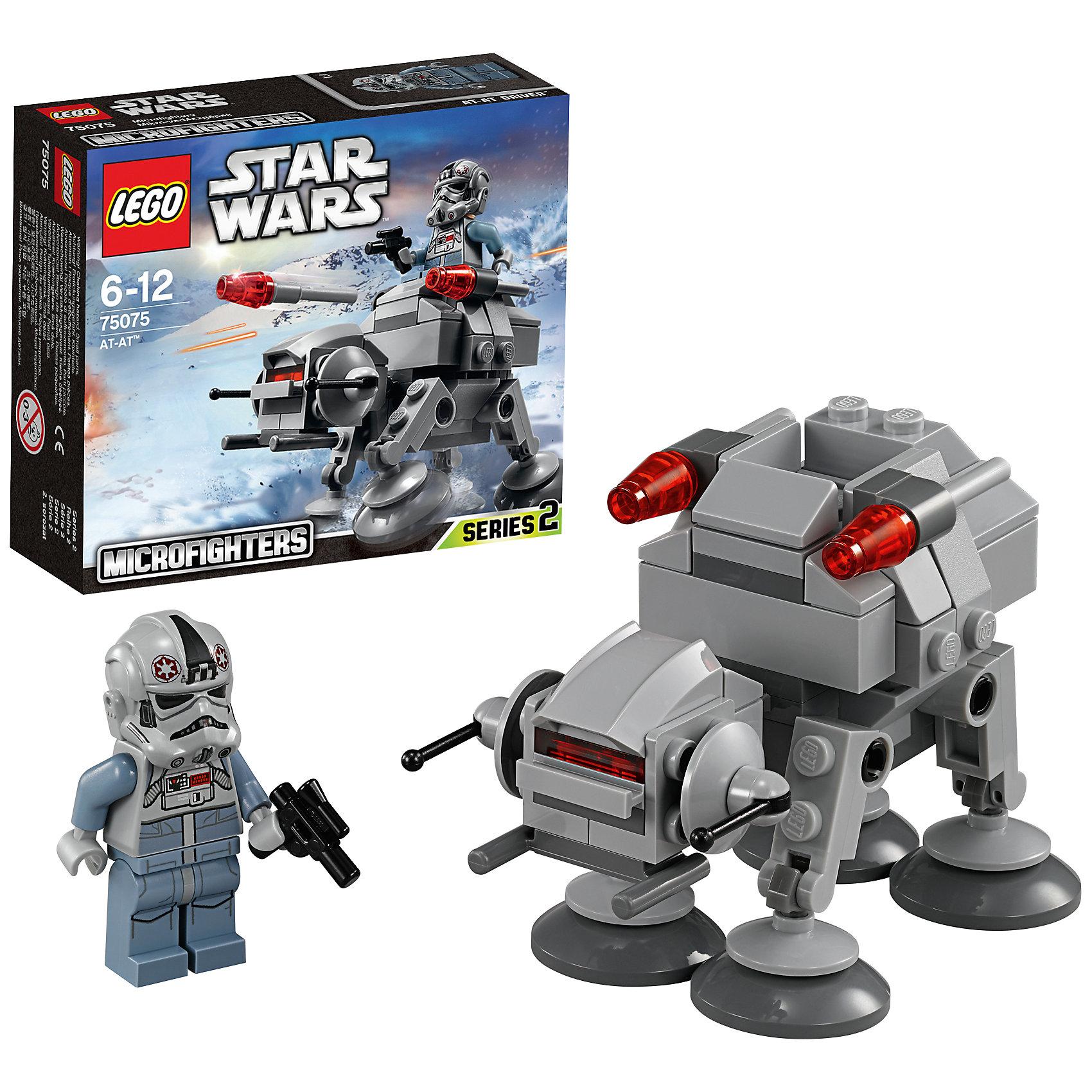 LEGO Star Wars 75075: AT-AT™Перемещайся по базе повстанцев на планете Хот на потрясающем микрофайтере AT-AT из набора LEGO Star Wars 75075: AT-AT. Эта миниатюрная версия настоящего шагающего робота Империи включает подвижную голову и ноги, две ракеты и даже миникабину для водителя AT-AT. <br><br>LEGO Star Wars (ЛЕГО Звездные войны) - серия детских конструкторов ЛЕГО, созданная по одноименной фантастической саге. Включает в себя множество сюжетов и реалистичных деталей, призванных в точности воспроизвести мир Star Wars.<br><br>Дополнительная информация:<br><br>- Конструкторы ЛЕГО развивают усидчивость, внимание, фантазию и мелкую моторику. <br>- В наборе фигурка водителя AT-AT с бластером, шагоход.<br>- Количество деталей: 88 шт.<br>- Пушки имеют функцию стрельбы. <br>- Серия ЛЕГО Звездные войны (LEGO Star Wars).<br>- Материал: пластик.<br>- Размер упаковки: 14,1 х 12,2 х 4,6 см<br>- Вес: 0.113 кг<br><br>Конструктор LEGO Star Wars ( ЛЕГО Звездные войны) 75075: AT-AT можно купить в нашем магазине.<br><br>Ширина мм: 143<br>Глубина мм: 121<br>Высота мм: 48<br>Вес г: 87<br>Возраст от месяцев: 72<br>Возраст до месяцев: 144<br>Пол: Мужской<br>Возраст: Детский<br>SKU: 3786131