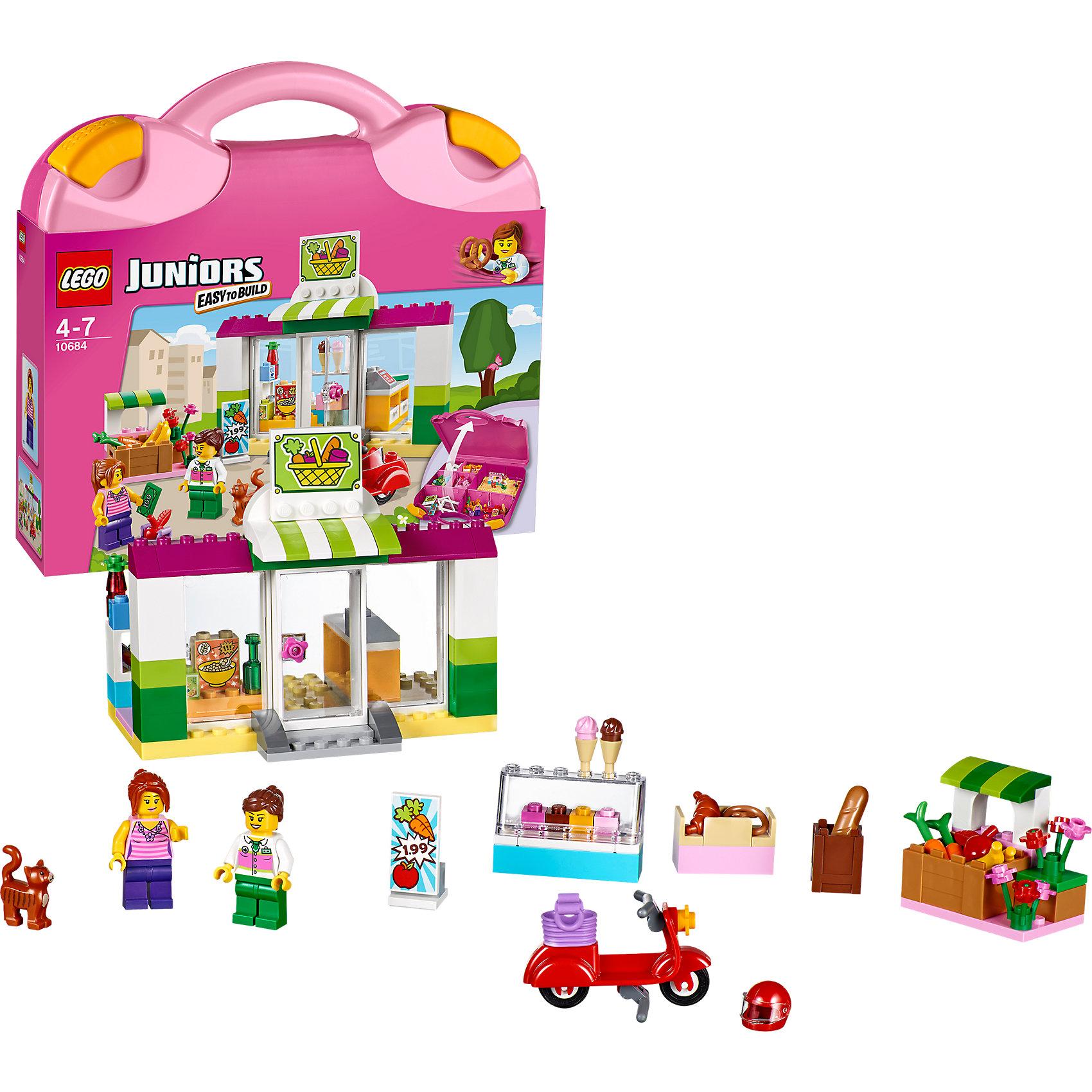 LEGO Juniors 10684: Чемоданчик «Супермаркет»Конструктор LEGO Juniors (ЛЕГО Джуниорс) 10684: Чемоданчик «Супермаркет» поможет малышам разыграть интересные истории из городской жизни. В удобном и компактном чемоданчике ребенок найдет множество аксессуаров, которые сделают игру по-настоящему увлекательной и реалистичной. Построив здание супермаркета, малыш увидит за стеклянной дверью кассу и прилавок за которым работает вежливый продавец. Он обязательно расскажет покупателю о новинках ассортимента. На красивых прилавках разложено множество нужных товаров. Перед зданием супермаркета расположились палатки с овощами и фруктами и цветочный ларек. Рекламный щит сообщает посетителям супермаркета о сегодняшнем спецпредложении. Берите чемоданчик Супермаркет с собой в путешествие и на прогулку и Вам никогда не будет скучно в компании LEGO (ЛЕГО).<br><br>Серия конструкторов LEGO Juniors (ЛЕГО Джуниорс) - специально разработаны для детей от 4 до 7 лет. Размер кубиков и деталей соответствует обычным размерам. При этом наборы очень просты в сборке. Понятные инструкции позволяют детям быстро получить результат и приступить к игре. Конструкторы этой серии прекрасно детализированы, яркие, прочные, имеют множество различных сюжетов - идеально подходят для реалистичных и познавательных игр.<br><br>Дополнительная информация:<br><br>- Игра с конструктором  LEGO (ЛЕГО) развивает мелкую моторику ребенка, фантазию и воображение, учит его усидчивости и внимательности;<br>- В комплекте: 2 минифигурки (продавщица и покупательница), бутылки с водой, пакеты с соком и молоком, несколько видов выпечки, холодильник с мороженым, овощи, фрукты, цветы, вывеска, рекламный стенд, корзинка, мотоцикл, шлем и котёнок, детали набора; <br>- Количество деталей: 134 шт;<br>- Удобно хранить и брать с собой;<br>- Серия: LEGO Juniors (ЛЕГО Джуниорс);<br>- Материал: пластик;<br>- Размер упаковки: 28 х 26 х 6 см;<br>- Вес: 0,8 кг <br><br>Конструктор LEGO Juniors (ЛЕГО Джуниорс) 10684: Чемоданчик «Супермаркет» можно 