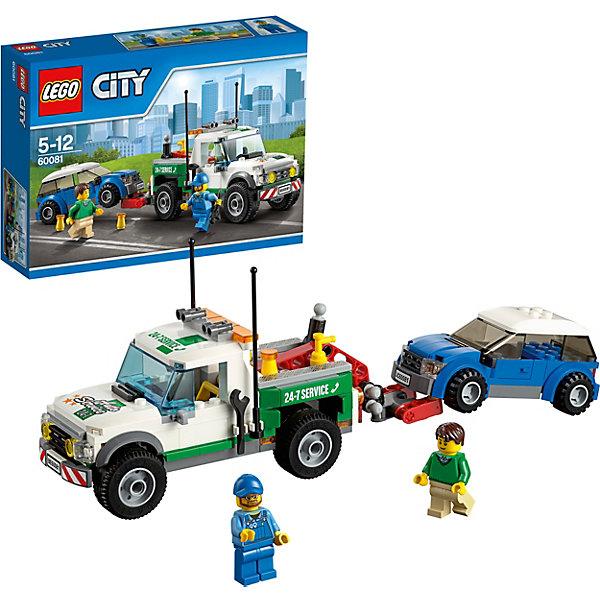 LEGO City 60081: Буксировщик автомобилейПластмассовые конструкторы<br>Поломка машины - не проблема, если с вами буксировщик из набора LEGO City 60081: Буксировщик автомобилей. Скорее залезай в кабину и отправляйся на помощь водителю. Буксировщик оснащен мощными антеннами и сигнальными огнями на крыше. В кузове  располагается эвакуационная раскладная платформа, с помощью рычага она может подниматься или опускаться. Скорее зацепляй сломанный автомобиль и буксируй его на станцию технической помощи!<br><br>LEGO City (ЛЕГО Сити) - серия детских конструкторов ЛЕГО, с помощью которого ваш ребенок может погрузиться в мир мегаполиса. Эта серия поможет ребенку понять, как устроена жизнь города, какие функции выполняют те или иные люди и техника. Предлагает на выбор огромное множество профессий, сфер деятельности и ситуаций, связанных с ними. <br><br>Дополнительная информация:<br><br>- Конструкторы ЛЕГО развивают усидчивость, внимание, фантазию и мелкую моторику. <br>- Комплектация: огнетушитель, оградительные сигнальные конусы, грузовик, легковой автомобиль, 2 минифигурки.<br>- В комплекте две минифигурки с аксессуарами: рабочие.<br>- Количество деталей: 209 шт.<br>- Серия ЛЕГО Сити (LEGO City ).<br>- Буксировщик с рабочей лебедкой и крюком. <br>- Материал: пластик.<br>- Размер упаковки: 19,1х 6,1 х 26,2см.<br>- Вес:  0.436 кг.<br><br>Конструктор LEGO City ( ЛЕГО Сити)60081: Буксировщик автомобилей можно купить в нашем магазине.<br>Ширина мм: 263; Глубина мм: 192; Высота мм: 66; Вес г: 379; Возраст от месяцев: 60; Возраст до месяцев: 144; Пол: Мужской; Возраст: Детский; SKU: 3786148;