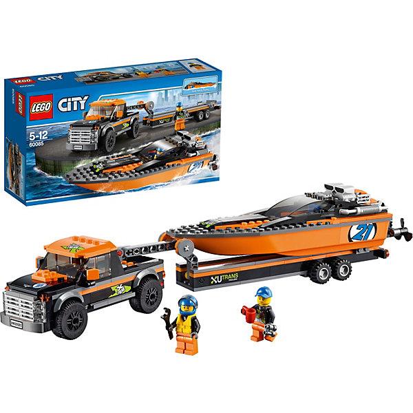 LEGO City 60085: Внедорожник 4x4 с гоночным катеромПластмассовые конструкторы<br>LEGO City 60085: Внедорожник 4x4 с гоночным катером. Чемпионат по гонкам моторных катеров - значимое событие в жизни города. Мощная полноприводная машина доставит катер на место проведения гонки. Огромный катер, имеющий затемненное лобовое стекло, защищающее от солнечных лучей и мощный поворотный мотор, станет достойным претендентом на победу!<br><br>LEGO City (ЛЕГО Сити) - серия детских конструкторов ЛЕГО, с помощью которого ваш ребенок может погрузиться в мир мегаполиса. Эта серия поможет ребенку понять, как устроена жизнь города, какие функции выполняют те или иные люди и техника. Предлагает на выбор огромное множество профессий, сфер деятельности и ситуаций, связанных с ними. <br><br>Дополнительная информация:<br><br>- Конструкторы ЛЕГО развивают усидчивость, внимание, фантазию и мелкую моторику. <br>- Комплектация: гоночный катер, пикап, прицеп, две минифигурки, кружка, гаечный ключ. <br>- В комплекте две минифигурки с аксессуарами: гонщики катера. <br>- Катер: затемненное лобовое стекло, поворотные винты.<br>- Количество деталей: 301 шт.<br>- Серия ЛЕГО Сити (LEGO City ).<br>- Материал: пластик.<br>- Размер упаковки: 19,1 х 35,4 х 9,1 см.<br>- Вес:  0.759 кг.<br><br>Конструктор LEGO City ( ЛЕГО Сити)60085: Внедорожник 4x4 с гоночным катером можно купить в нашем магазине.<br>Ширина мм: 357; Глубина мм: 188; Высота мм: 95; Вес г: 667; Возраст от месяцев: 60; Возраст до месяцев: 144; Пол: Мужской; Возраст: Детский; SKU: 3786150;