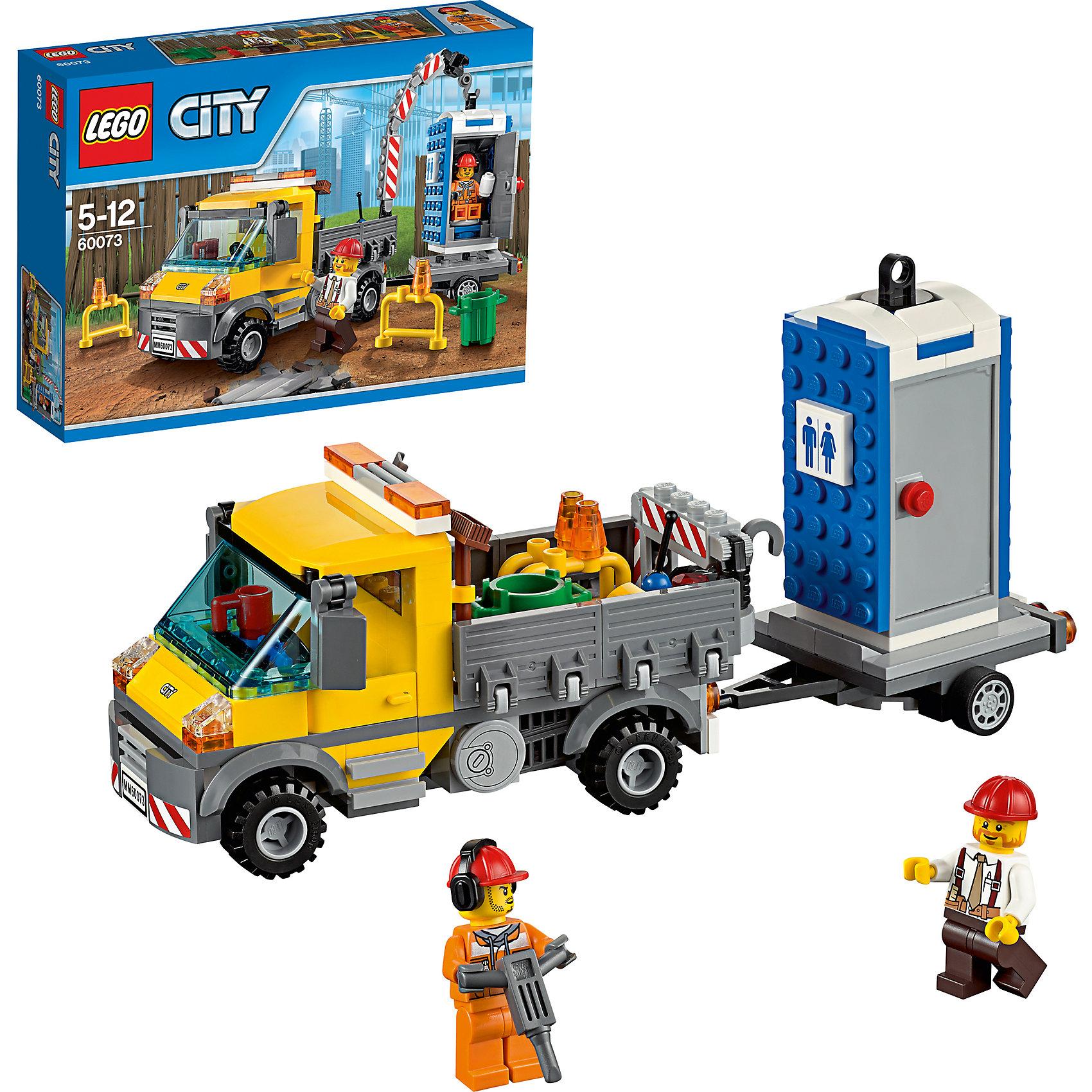 LEGO City 60073: Машина техобслуживанияLEGO City 60073: Машина техобслуживания. Пора перевозить биотуалет в другое место, здесь он уже не нужен - все строительные работы завершены. С помощью подъемного крана, установленного в задней части грузового автомобиля, водитель погружает туалет на платформу. Скорее помогай водителю. И, конечно, прежде чем начать проверь, не занят ли туалет.<br><br>LEGO City (ЛЕГО Сити) - серия детских конструкторов ЛЕГО, с помощью которого ваш ребенок может погрузиться в мир мегаполиса. Эта серия поможет ребенку понять, как устроена жизнь города, какие функции выполняют те или иные люди и техника. Предлагает на выбор огромное множество профессий, сфер деятельности и ситуаций, связанных с ними. <br><br>Дополнительная информация:<br><br>- Конструкторы ЛЕГО развивают усидчивость, внимание, фантазию и мелкую моторику. <br>- Комплектация: грузовик со складывающимся подъемным краном, биотуалет, грузовая платформа, отбойник, 2 заграждения, мусорное ведро, две минифигурки.<br>- В комплекте две минифигурки с аксессуарами: водитель и рабочий.<br>- Количество деталей: 233 шт.<br>- Серия ЛЕГО Сити (LEGO City ).<br>- Материал: пластик.<br>- Размер упаковки: 19,1 х 6,1 х 26,2см.<br>- Вес:  0.423 кг.<br><br>Конструктор LEGO City ( ЛЕГО Сити)60073: Машина техобслуживания можно купить в нашем магазине.<br><br>Ширина мм: 266<br>Глубина мм: 188<br>Высота мм: 65<br>Вес г: 375<br>Возраст от месяцев: 60<br>Возраст до месяцев: 144<br>Пол: Мужской<br>Возраст: Детский<br>SKU: 3786152