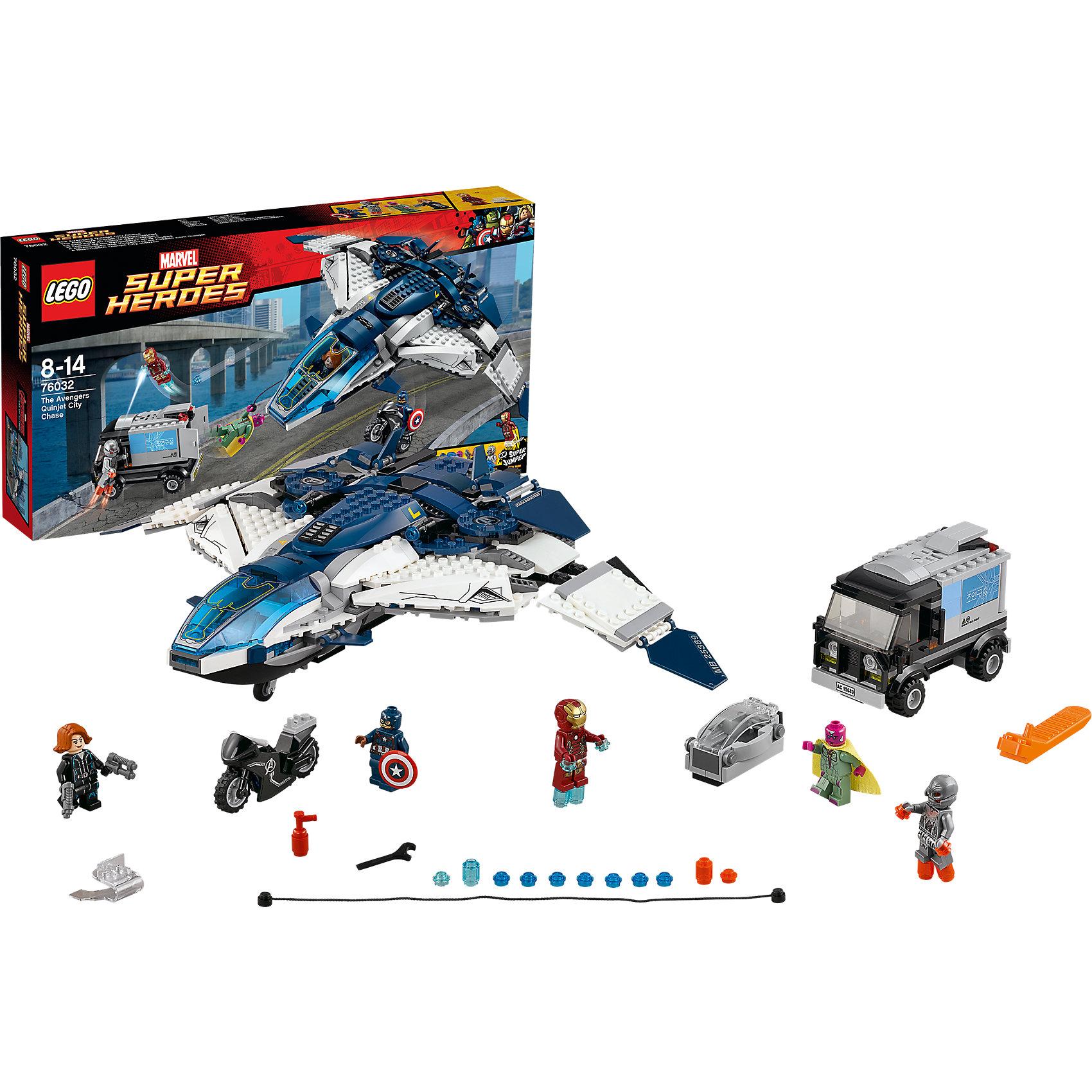 LEGO Super Heroes 76032: Погоня на Квинджете МстителейПластмассовые конструкторы<br>Найди Альтрона по следам с помощью легендарного Квинджета Мстителей. Помести Черную вдову за пульт управления и взмывай в небо. Стреляй из шипованных шутеров и освободи Капитана Америку на супер-мотоцикле, чтобы продолжить погоню по улицам. Железный человек МК43 полетит рядом с Квинджетом при помощи ракетных двигателей, готовый сразиться с Альтроном. Когда настанет время, соверши точный прыжок на грузовик, чтобы взорвать его стенки и открыть драгоценный груз. <br><br>LEGO Super Heroes (ЛЕГО Супер Герои) - серия конструкторов созданная специально по мотивам всеми известных комиксов. Спасай мир и борись со злом вместе с любимыми супергероями! Наборы серии можно комбинировать между собой, давая безграничные просторы для фантазии и придумывая свои новые истории. <br><br>Дополнительная информация:<br><br>- Конструкторы ЛЕГО развивают усидчивость, внимание, фантазию и мелкую моторику. <br>- Комплектация: 5 минифигурок, аксессуары, оружие, грузовик Альтрона, трос, Квинджет, супер-мотоцикл, супер-джампер.<br>- В комплекте 5 минифигурок -  Вижен, Капитан Америка, Черная вдова, Железный человек, Альтрон.<br>- Квинджет: шасси, крылья меняют геометрию.<br>- Грузовик Альтрона: открывающиеся двери, оружие. <br>- Количество деталей: 722 шт.<br>- Серия ЛЕГО Супер Герои (LEGO Super Heroes).<br>- Материал: пластик.<br>- Размер: 54х28,2х7,8 см<br>- Вес: 1,119 кг<br><br>Конструктор LEGO Super Heroes 76032: Погоня на Квинджете Мстителей можно купить в нашем магазине.<br><br>Ширина мм: 540<br>Глубина мм: 279<br>Высота мм: 73<br>Вес г: 1250<br>Возраст от месяцев: 96<br>Возраст до месяцев: 168<br>Пол: Мужской<br>Возраст: Детский<br>SKU: 3786226