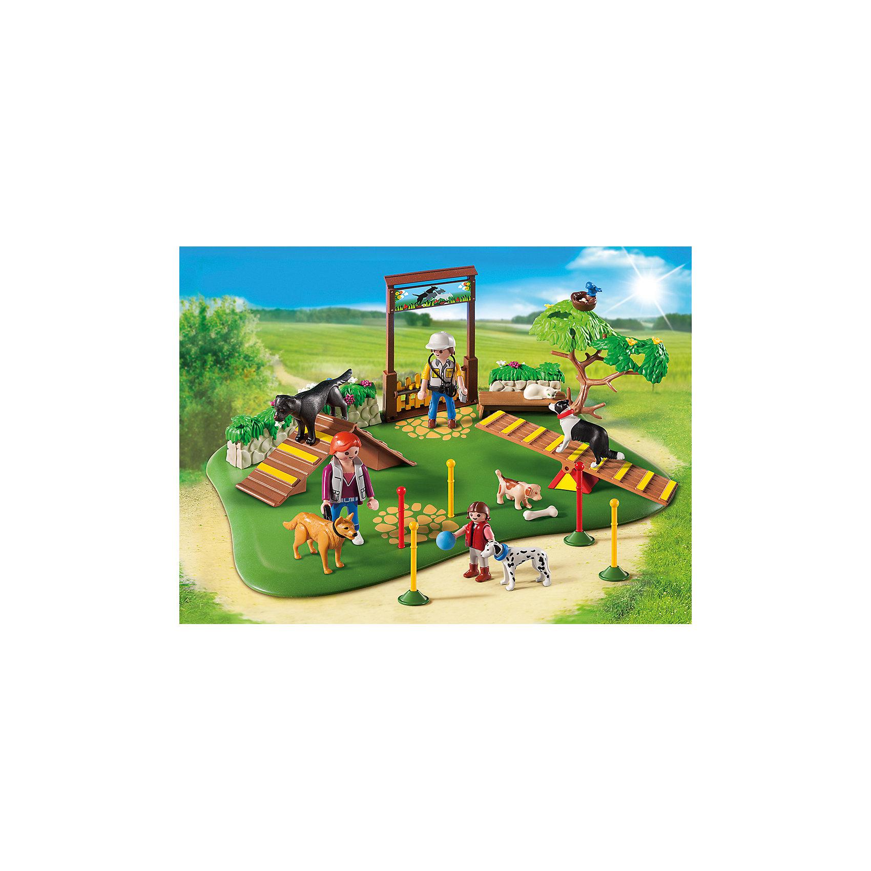 Супер набор: Дрессировка собак, PLAYMOBILСупер набор: Дрессировка собак, PLAYMOBIL (Плэймобил)<br><br>Характеристики:<br><br>• игровой сюжет о дрессировке собак<br>• множество вариантов игры<br>• в комплекте: 3 фигурки людей, 5 собак, кошка, площадка для тренировки, аксессуары<br>• размер упаковки: 35х25х7 см<br>• длина площадки: 32 см<br>• вес: 617 грамм<br>• материал: пластик<br><br>Набор от PLAYMOBIL поможет ребенку создать игрушечную дрессировку собак. Для этого в наборе есть тренировочная площадка, горки, собаки и, конечно же, тренер. Тренировка будет настолько интересной, что даже маленькая белая кошечка сможет уютно расположиться на скамейке. Сюжетно-ролевые игры помогут развить воображение, координацию движений и моторику.<br><br>Супер набор: Дрессировка собак, PLAYMOBIL (Плэймобил) вы можете купить в нашем интернет-магазине.<br><br>Ширина мм: 350<br>Глубина мм: 251<br>Высота мм: 73<br>Вес г: 589<br>Возраст от месяцев: 48<br>Возраст до месяцев: 120<br>Пол: Унисекс<br>Возраст: Детский<br>SKU: 3786340