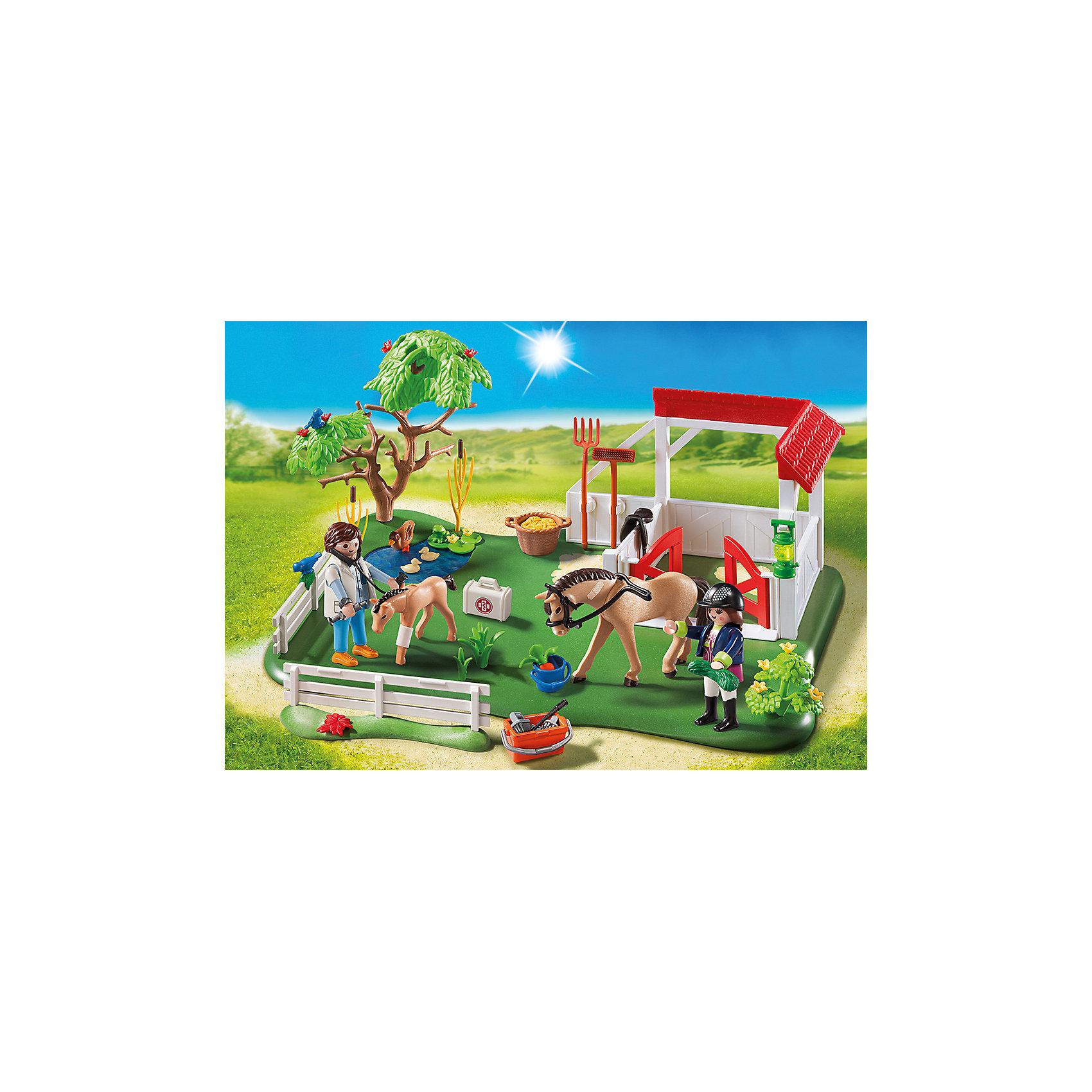PLAYMOBIL® Супер набор: Загон для Лошадей, PLAYMOBIL playmobil® зоопарк стая фламинго playmobil