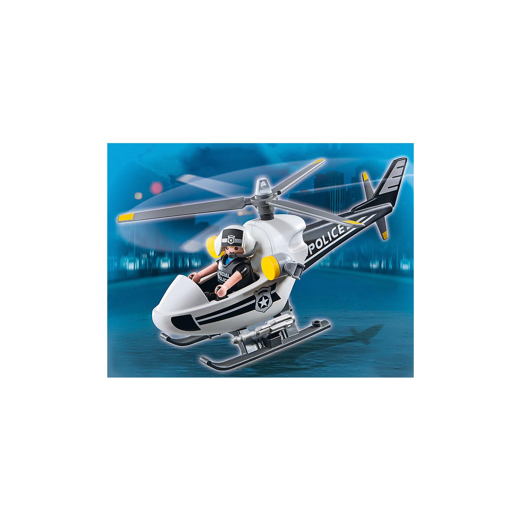 Полицейский вертолет, PLAYMOBILРабота полицейского одна из самых важных и опасных, которая требует больших сил и отваги. При помощи полицейского вертолёта преступник никогда от вас не скроется и вы обязательно его задержите. Компактный полицейский вертолет рассчитанный на одного пилота. У вертолета подвижные лопасти и фонари, также в наборе фигурка полицейского. Все детали прекрасно проработаны и выполнены из высококачественного экологичного пластика безопасного для детей. Играть с таким набором не только приятно и интересно - подобные виды игры развивают мелкую моторику, воображение, творческое мышление.<br><br>Дополнительная информация:<br><br>- 1 фигурка в наборе.<br>- Комплектация: вертолет, фигурка.<br>- Материал: пластик.<br>- Размер упаковки: 19х19х7,6 см.<br>- Высота фигурки: 7,5 см.<br>- Голова, руки, ноги у фигурок подвижные.<br>- Вертолет с подвижными лопастями.<br><br>Набор Меблированный торговый центр, PLAYMOBIL (Плеймобил), можно купить в нашем магазине.<br><br>Ширина мм: 195<br>Глубина мм: 193<br>Высота мм: 76<br>Вес г: 196<br>Возраст от месяцев: 48<br>Возраст до месяцев: 120<br>Пол: Мужской<br>Возраст: Детский<br>SKU: 3786344