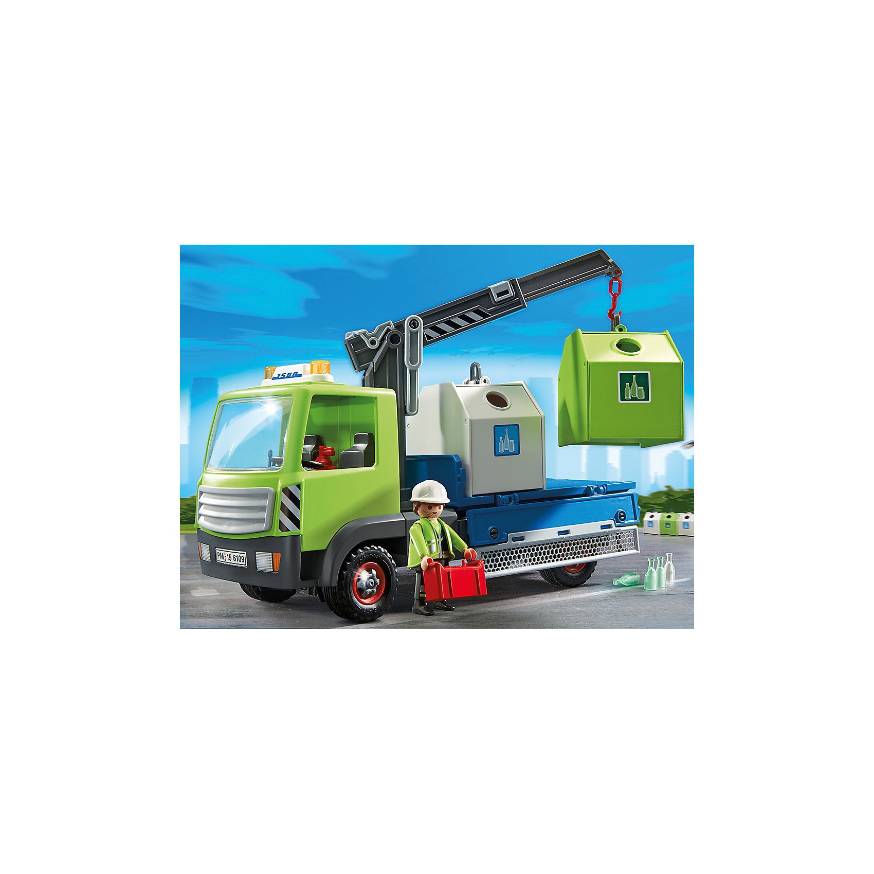 Грузовик для перевозки стеклянной тары, PLAYMOBILС помощью этого набора ребенок сможет собрать большой грузовик, который перевозит стеклянную тару. Стрела грузовика подвижная, к ней можно прицепить один из контейнеров. Также в наборе фигурка рабочего и аксессуары, которые сделают игру еще интереснее и реалистичнее. Фигурка имеет подвижные конечности, в руки можно вложить различные вещи. Все детали набора прекрасно проработаны, выполнены из высококачественного пластика. Играть с таким набором не только приятно и интересно - подобные виды игры развивают мелкую моторику, воображение, творческое мышление.<br><br>Дополнительная информация:<br><br>- Комплектация: 1 фигурка, машина, 2 контейнера, аксессуары.<br>- 1 фигурка в комплекте: рабочий.<br>- Материал: пластик.<br>- Размер упаковки: 36х25х13 см.<br>- Высота фигурки: 7,5 см. <br>- Голова, руки, ноги у фигурок подвижные.<br>- Колеса машины вращаются.<br>- Стрела подвижная. <br><br>Грузовик для перевозки стеклянной тары, PLAYMOBIL (Плеймобил), можно купить в нашем магазине.<br><br>Ширина мм: 350<br>Глубина мм: 251<br>Высота мм: 129<br>Вес г: 901<br>Возраст от месяцев: 48<br>Возраст до месяцев: 120<br>Пол: Мужской<br>Возраст: Детский<br>SKU: 3786346