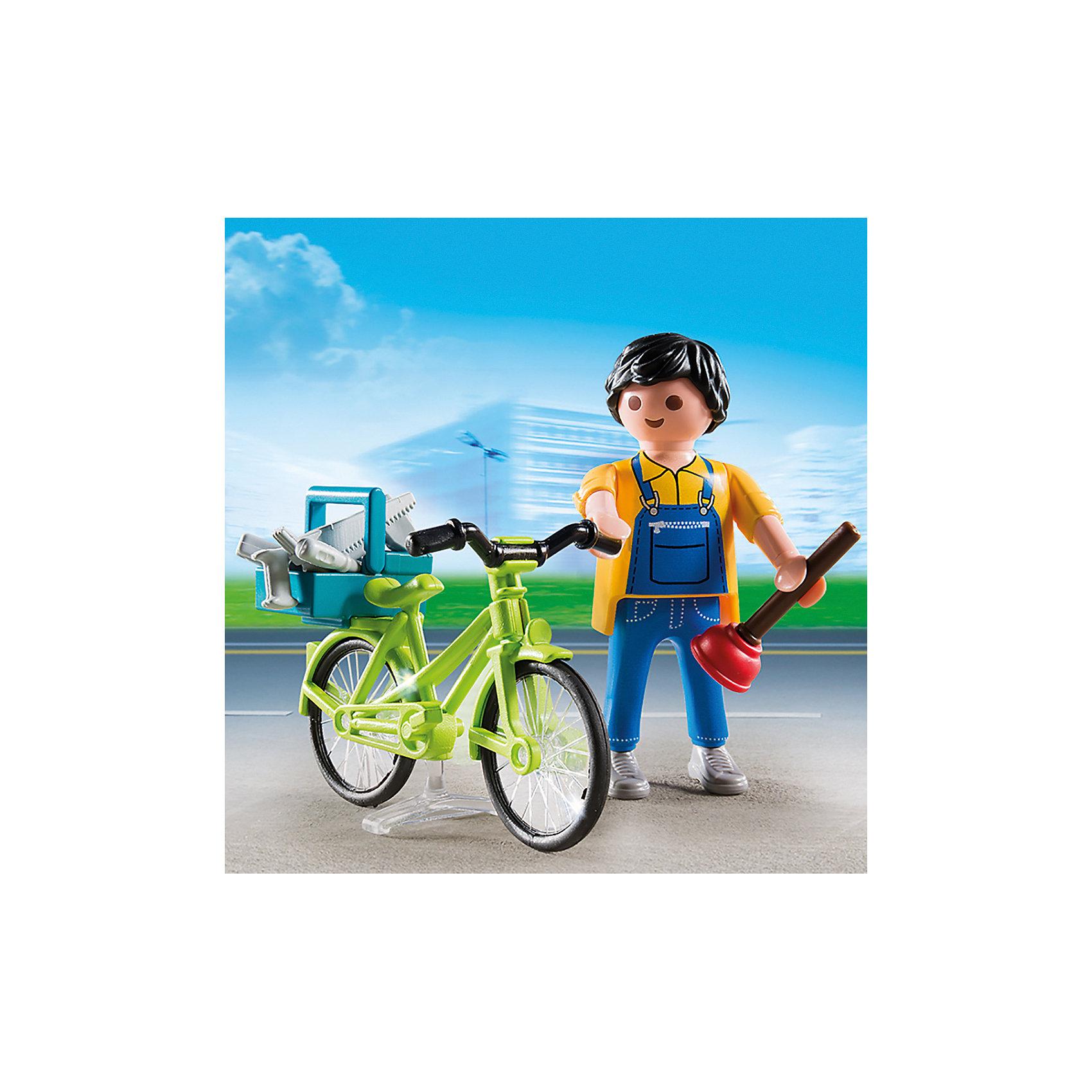 Экстра-набор: Мастер с инструментами на велосипеде, PLAYMOBILПластмассовые конструкторы<br>В набор входят детали для сборки велосипеда, фигурка мастера, который его чинит и аксессуары, которые сделают игру еще реалистичнее и увлекательнее. Фигурка имеет подвижные конечности, в руки можно вложить инструменты. Все детали прекрасно проработаны и выполнены из высококачественного экологичного пластика безопасного для детей. Играть с таким набором не только приятно и интересно - подобные виды игры развивают мелкую моторику, воображение, творческое мышление.<br><br>Дополнительная информация:<br><br>- 1 фигурка в наборе. <br>- Комплектация: фигурка, велосипед, аксессуары (инструменты, ящик для инструментов).<br>- Материал: пластик.<br>- Размер упаковки: 13х10х3 см.<br>- Высота фигурки: 7,5 см.<br>- Голова, руки, ноги у фигурки подвижные.<br><br>Экстра-набор: Мастер с инструментами на велосипеде, PLAYMOBIL (Плеймобил), можно купить в нашем магазине.<br><br>Ширина мм: 126<br>Глубина мм: 93<br>Высота мм: 35<br>Вес г: 52<br>Возраст от месяцев: 48<br>Возраст до месяцев: 120<br>Пол: Мужской<br>Возраст: Детский<br>SKU: 3786352