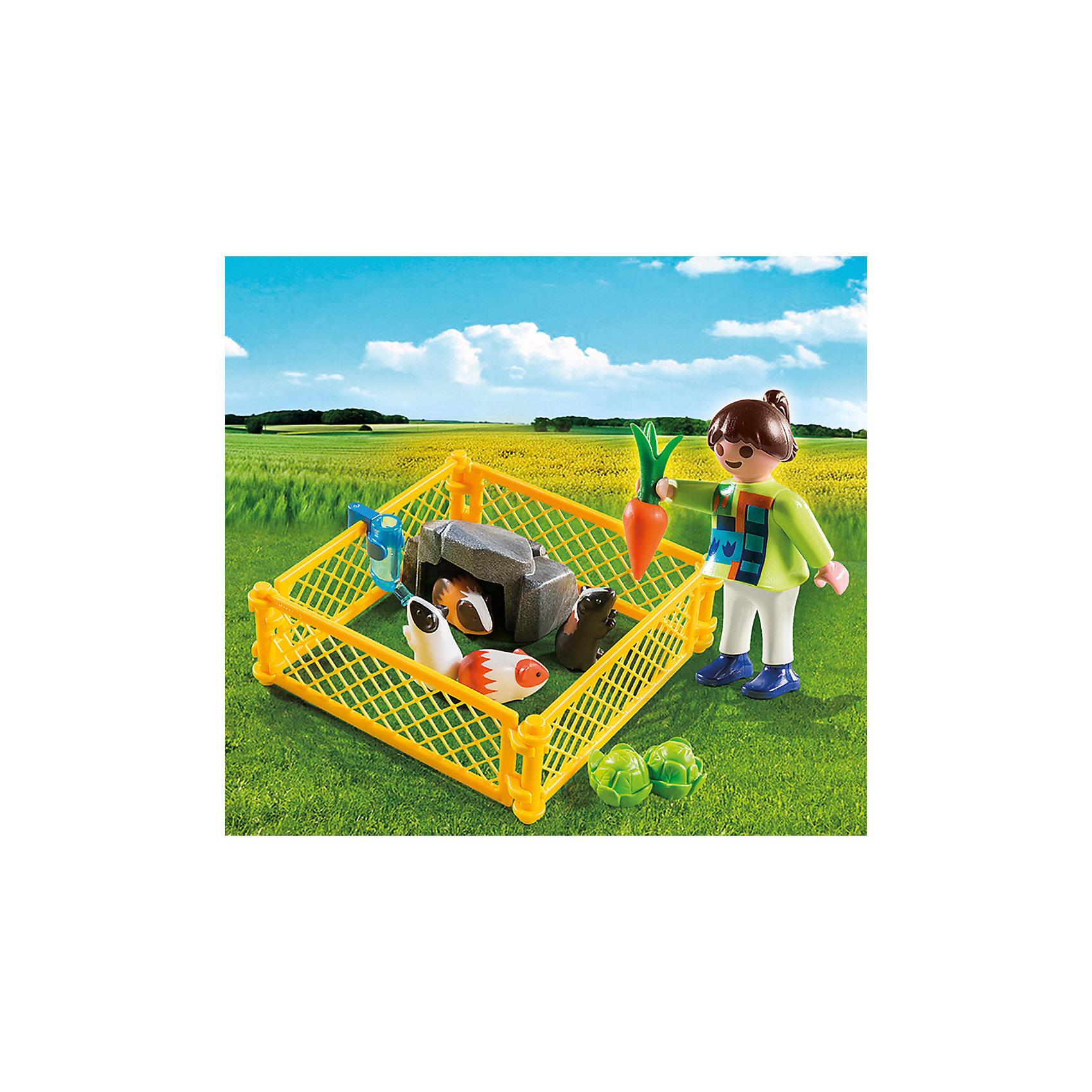 PLAYMOBIL® Экстра-набор: Девочка с морскими свинками, PLAYMOBIL playmobil® экстра набор сёрфингист с доской playmobil