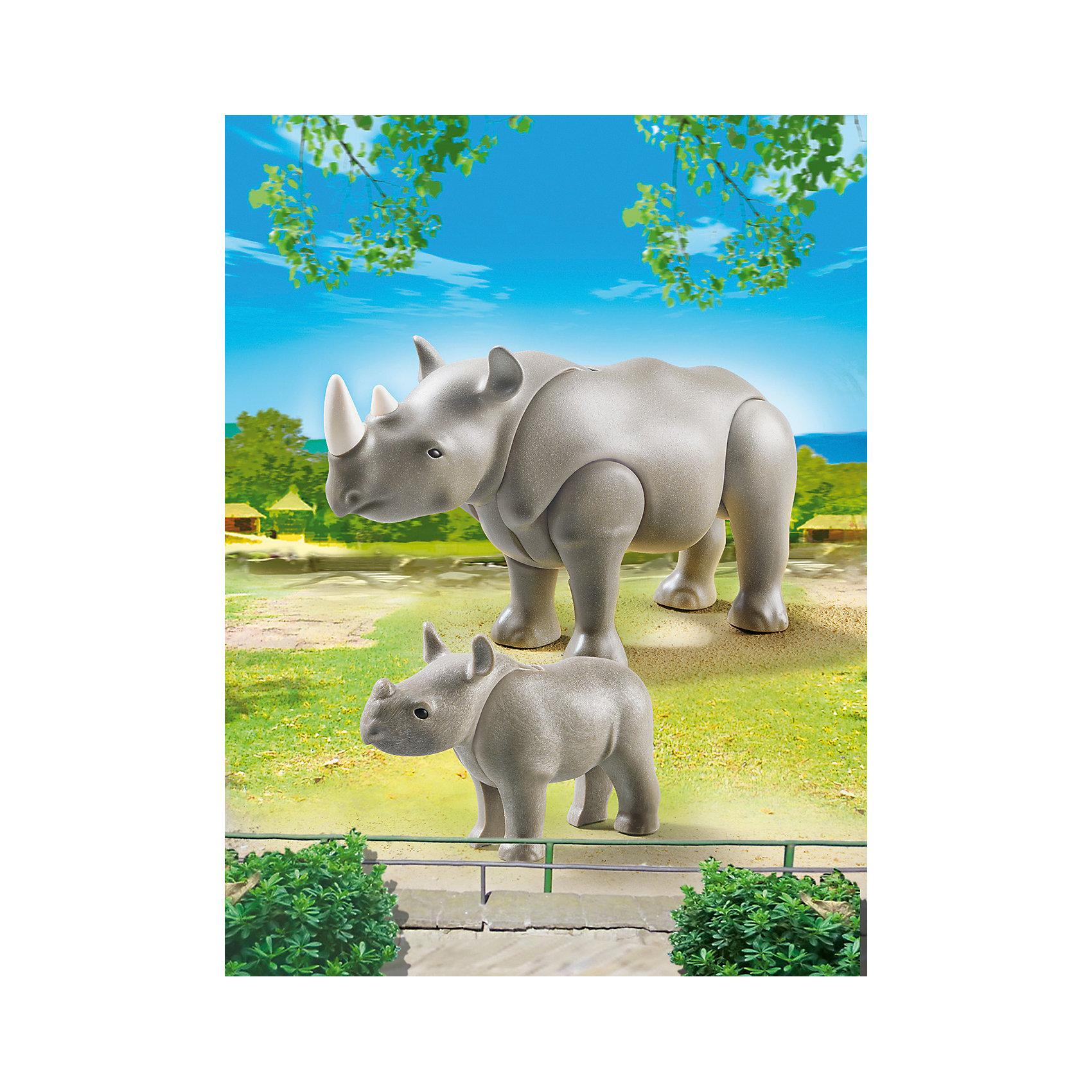 PLAYMOBIL® Зоопарк: Носорог с носорожком, PLAYMOBIL playmobil мальчики с гоночным мотоциклом