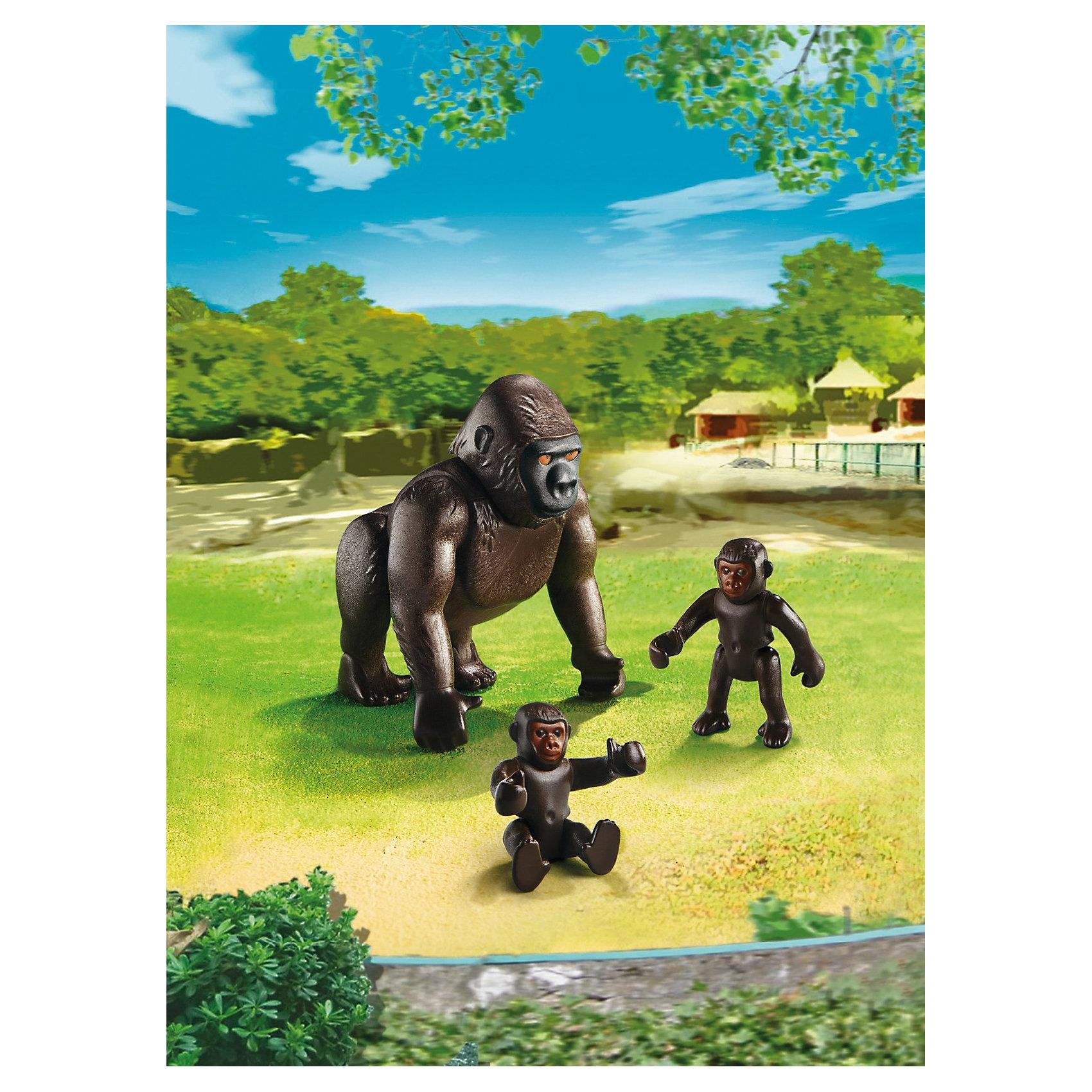 PLAYMOBIL® Зоопарк: Горилла со своими детенышами, PLAYMOBIL фигурки игрушки playmobil зоопарк стая фламинго