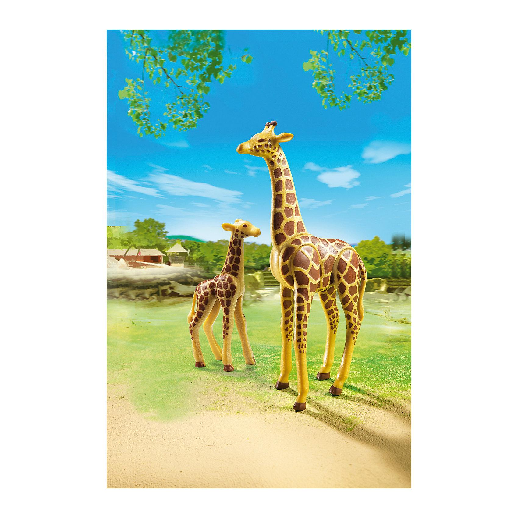 PLAYMOBIL® Зоопарк: Жираф со своим детенышем жирафом, PLAYMOBIL playmobil® playmobil 5546 парк развлечений продавец шаров smileyworld