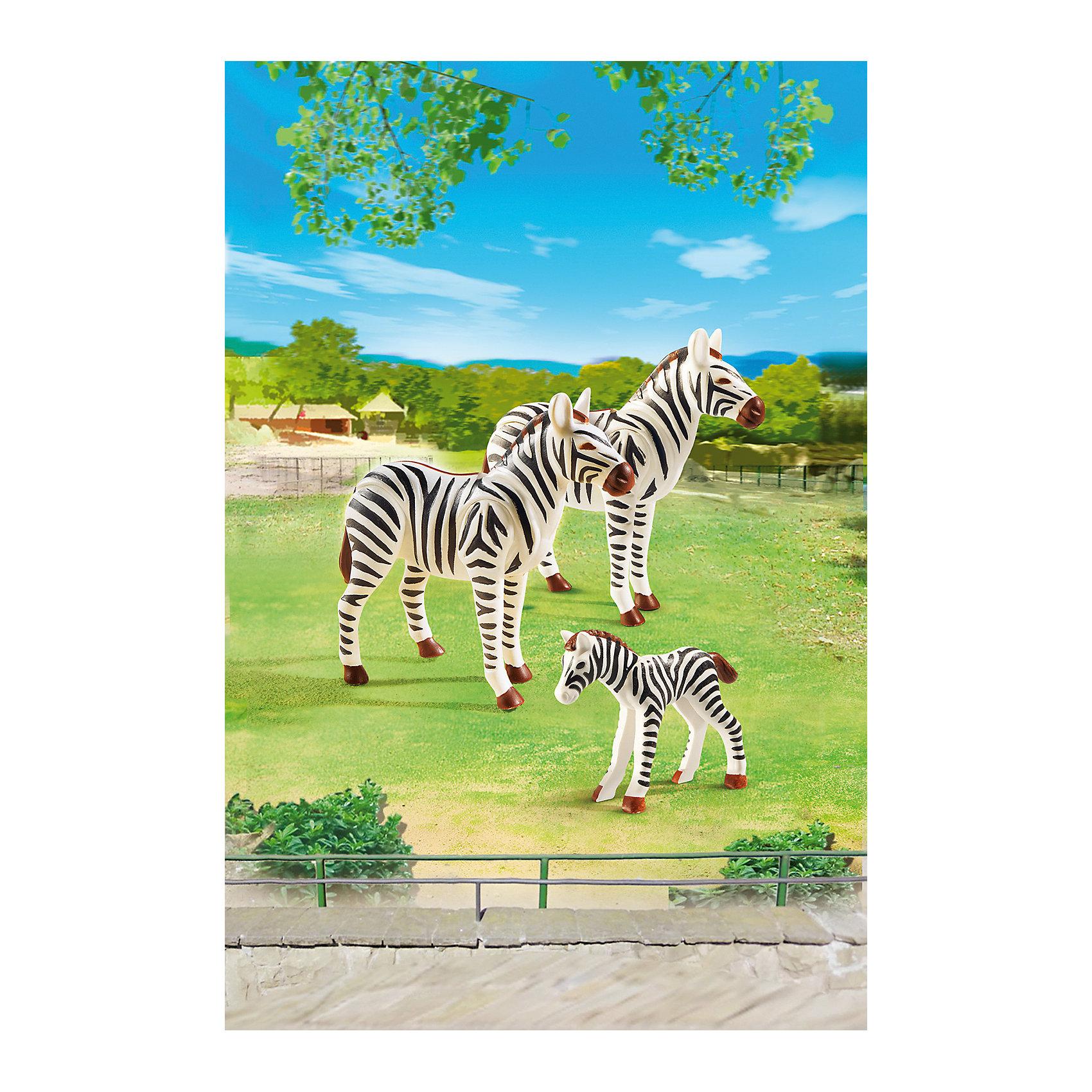 Зоопарк: Семья Зебр, PLAYMOBILПластмассовые конструкторы<br>Зоопарк: Семья Зебр, PLAYMOBIL (Плэймобил)<br><br>Характеристики:<br><br>• семья зебр из качественного пластика <br>• подвижная голова<br>• в комплекте: 2 большие и 1 маленькая зебра<br>• размер упаковки: 16,9х24,6х8 см<br>• вес: 150 грамм<br>• материал: пластик<br><br>Набор от Плэймобил станет прекрасным дополнением к игрушечному зоопарку ребенка. В комплект входит маленькая фигурка зебры и 2 большие. Они имеют подвижные конечности. Ребенок сможет придумать интересную игру с этим милым семейством!<br><br>Зоопарк: Семья зебр, PLAYMOBIL (Плэймобил) можно купить в нашем интернет-магазине.<br><br>Ширина мм: 243<br>Глубина мм: 164<br>Высота мм: 56<br>Вес г: 75<br>Возраст от месяцев: 48<br>Возраст до месяцев: 120<br>Пол: Унисекс<br>Возраст: Детский<br>SKU: 3786367