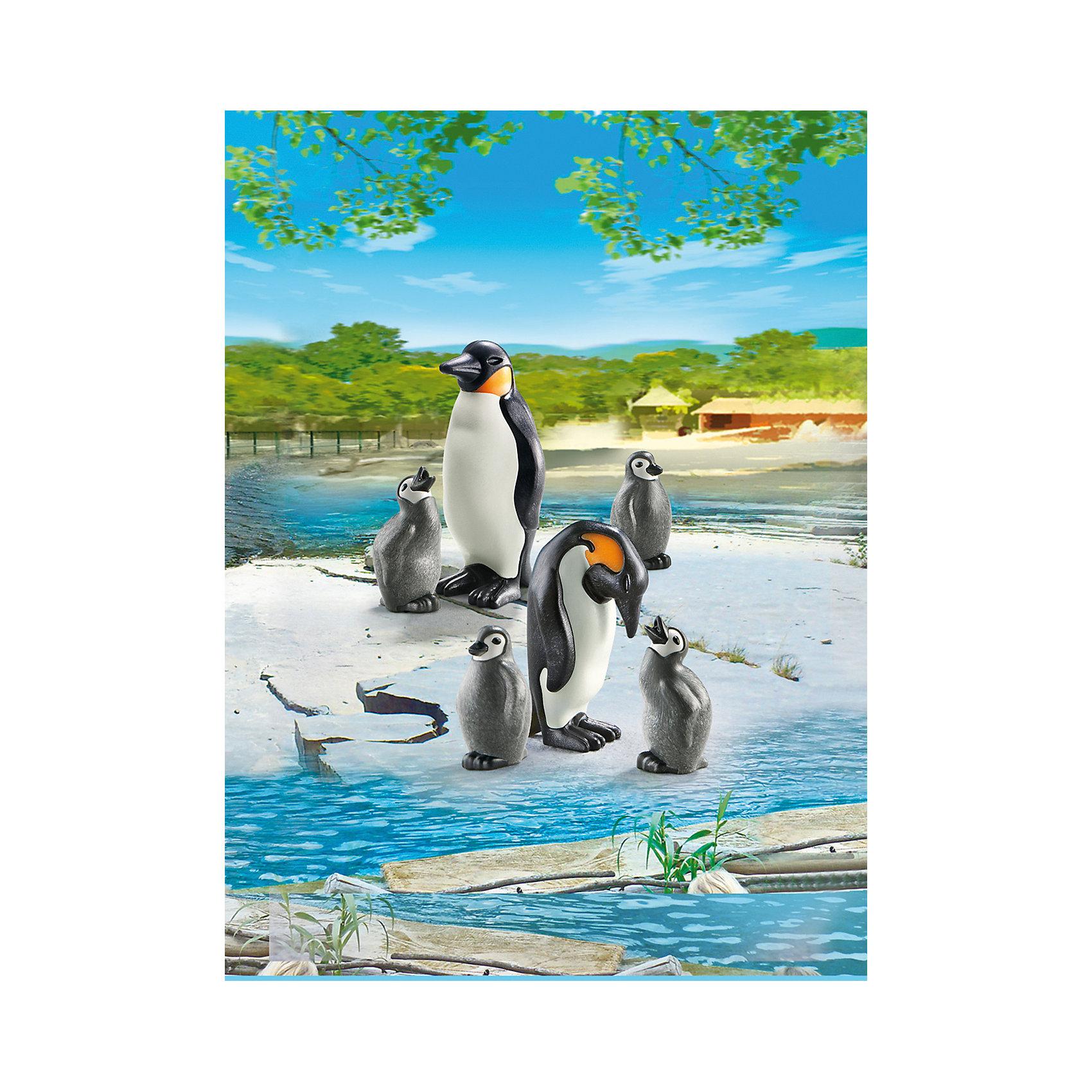 PLAYMOBIL® Зоопарк: Семья Пингвинов, PLAYMOBIL фигурки игрушки playmobil зоопарк стая фламинго