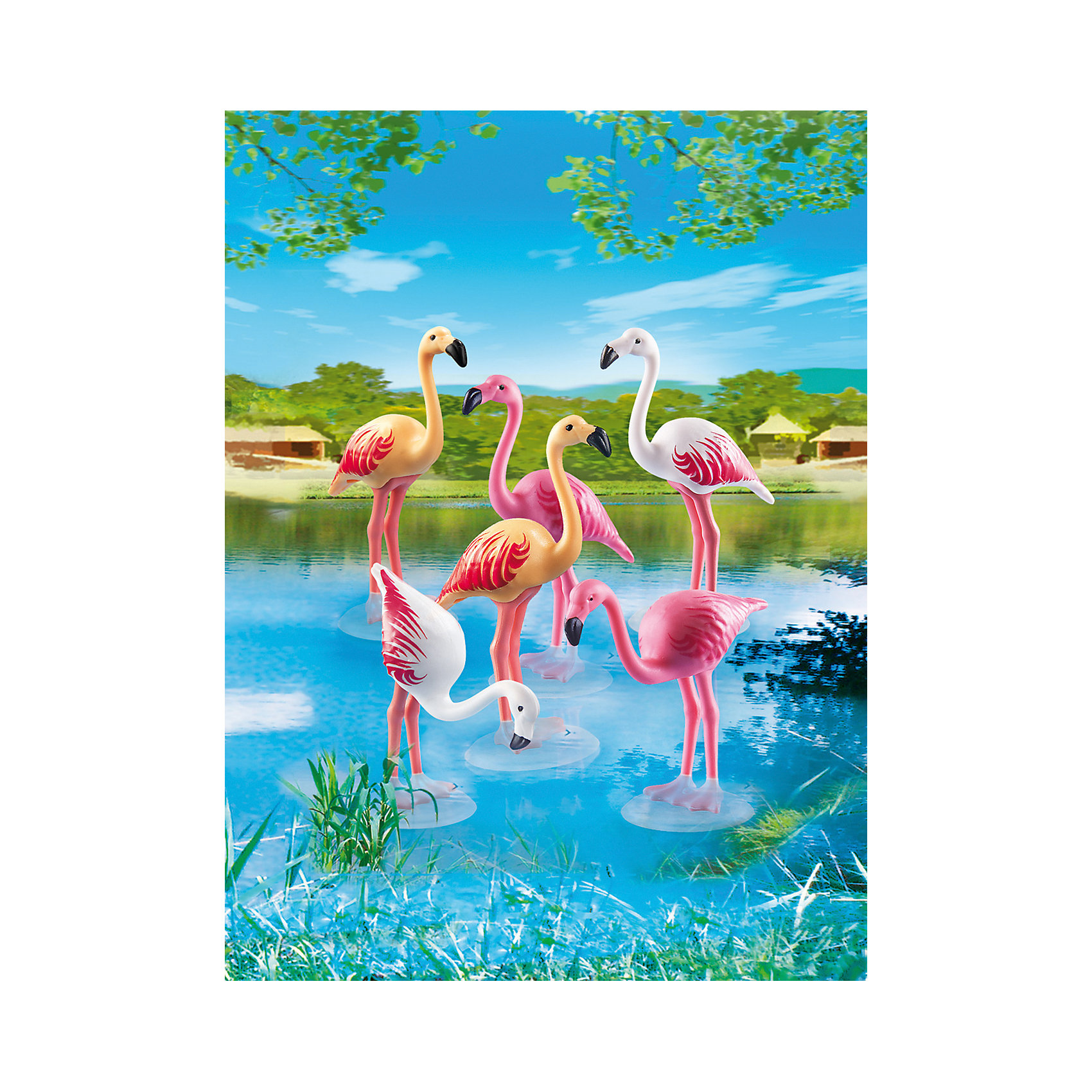 Зоопарк: Стая Фламинго, PLAYMOBIL<br><br>Ширина мм: 174<br>Глубина мм: 119<br>Высота мм: 35<br>Вес г: 37<br>Возраст от месяцев: 48<br>Возраст до месяцев: 120<br>Пол: Унисекс<br>Возраст: Детский<br>SKU: 3786377