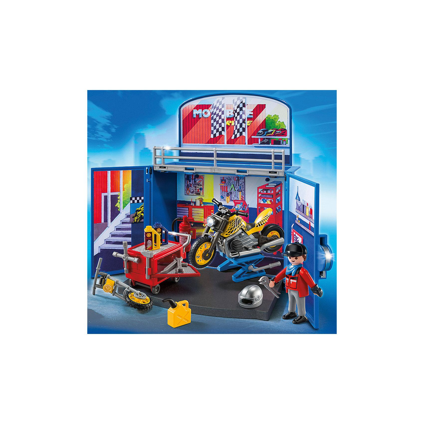 PLAYMOBIL® Возьми с собой: Мастерская мотоциклов, PLAYMOBIL playmobil мальчики с гоночным мотоциклом