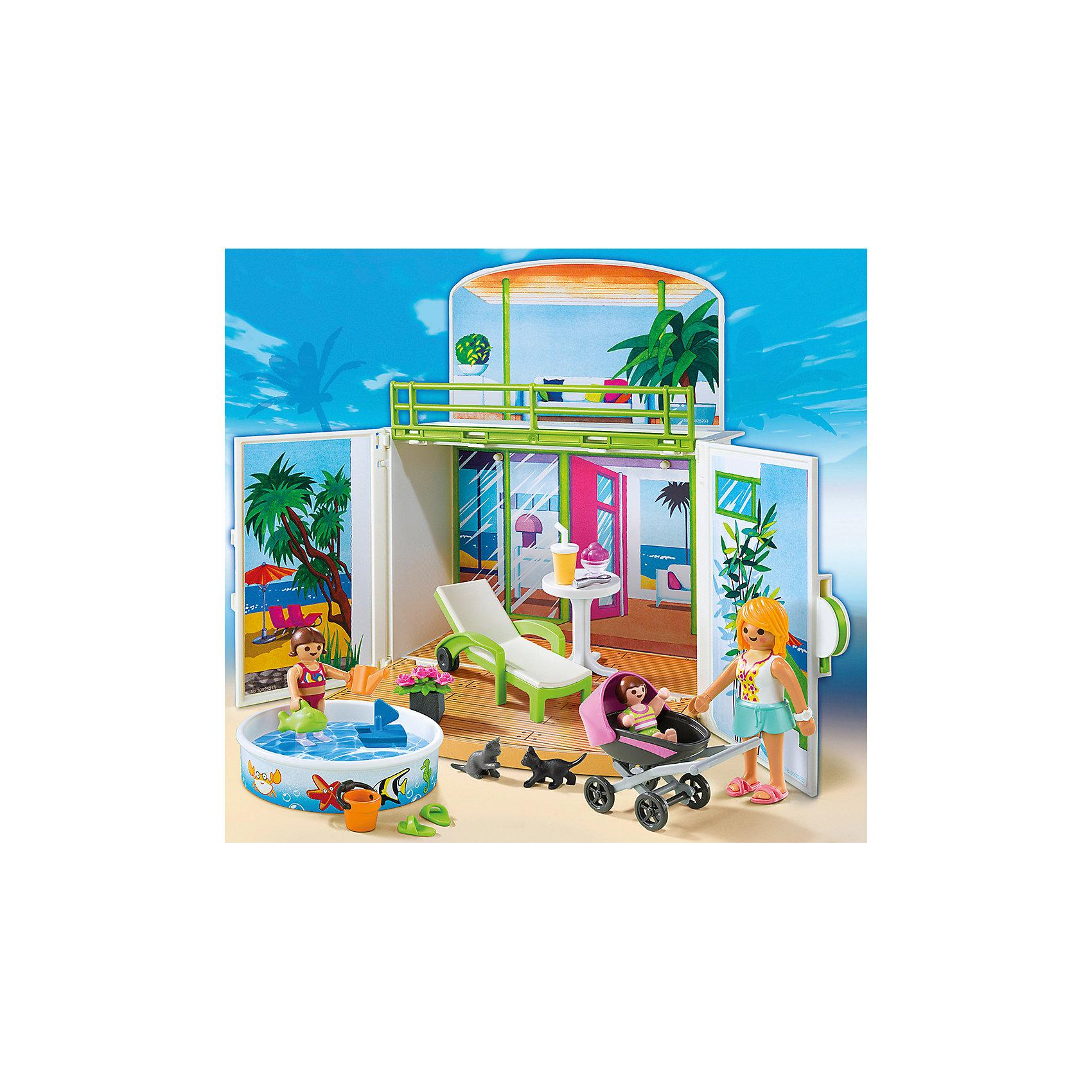 PLAYMOBIL® Возьми с собой: Пляжное Бунгало, PLAYMOBIL playmobil мальчики с гоночным мотоциклом