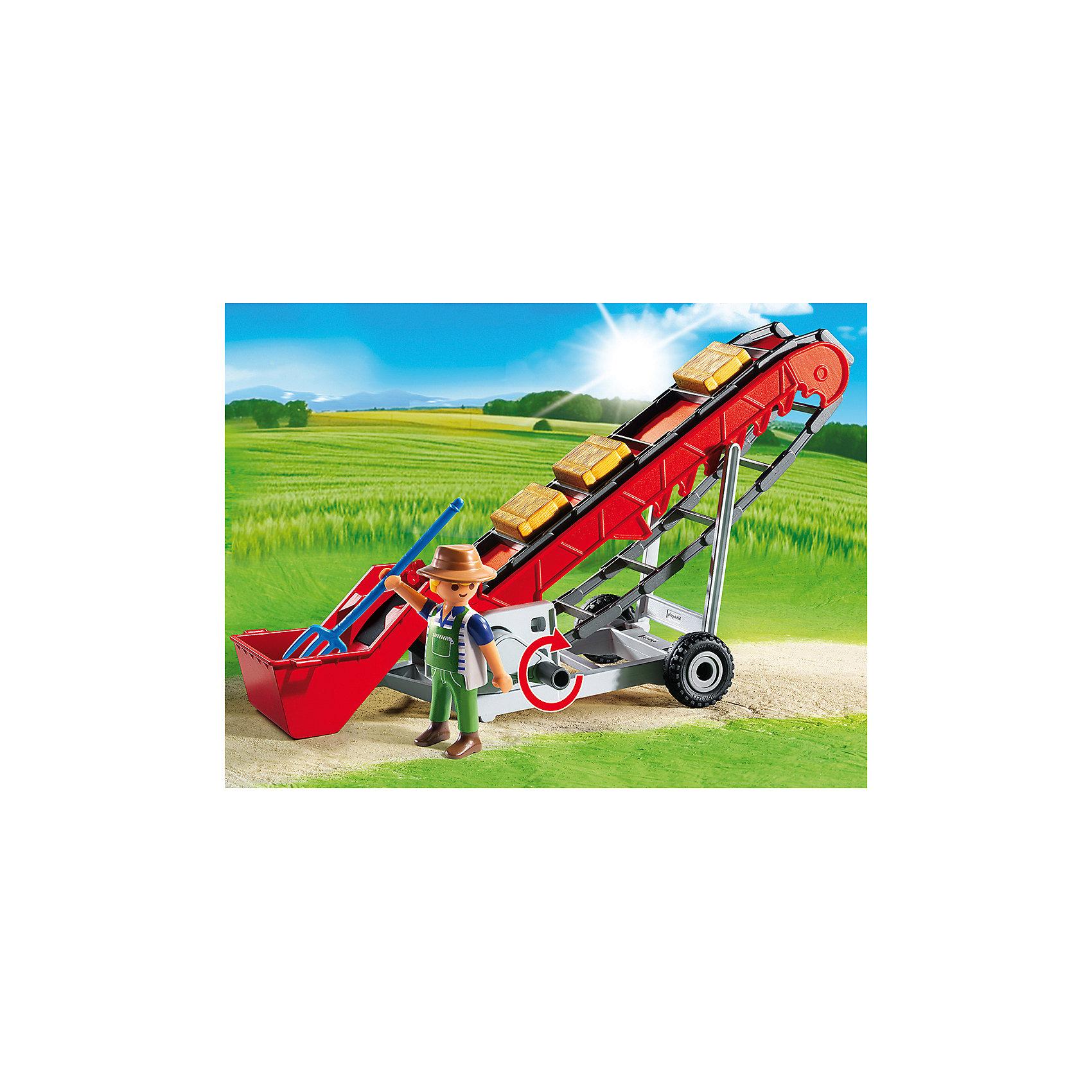 Мобильный ленточный конвейер, PLAYMOBILС помощью мобильного ленточного конвейера фермеры грузят урожай в грузовики. Конвейерная лента фиксируется в семи различных положениях. Управлять лентой можно с помощью рычага. Чтобы автоматизировать конвейерную ленту, можно использовать мотор (продаётся отдельно). В наборе также - фигурка рабочего и аксессуары. Фигурка имеет подвижные конечности, в руки можно вложить инструменты. Все детали прекрасно проработаны и выполнены из высококачественного экологичного пластика безопасного для детей. <br><br>Дополнительная информация:<br><br>- 1 фигурка в наборе. <br>- Комплектация: фигурка, конвейер, аксессуары. <br>- Материал: пластик.<br>- Размер упаковки: 26х19х10 см.<br>- Высота фигурки: 7,5 см.<br>- Голова, руки, ноги у фигурки подвижные.<br><br>Мобильный ленточный конвейер, PLAYMOBIL (Плеймобил), можно купить в нашем магазине.<br><br>Ширина мм: 254<br>Глубина мм: 192<br>Высота мм: 99<br>Вес г: 381<br>Возраст от месяцев: 48<br>Возраст до месяцев: 120<br>Пол: Унисекс<br>Возраст: Детский<br>SKU: 3786398
