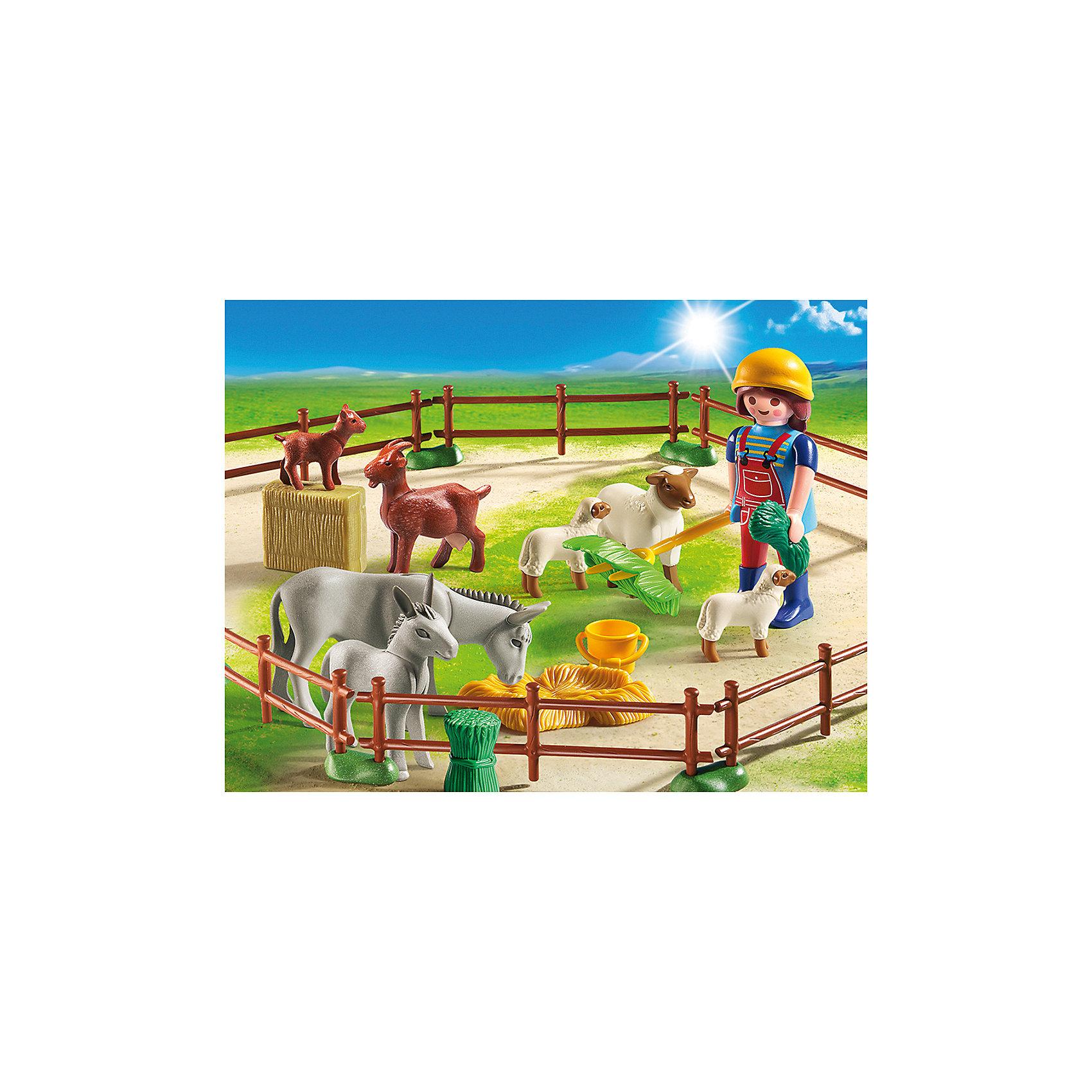 Фермер с домашними животными, PLAYMOBILПластмассовые конструкторы<br>Отправляйся на ферму, посмотри, как фермер ухаживает за своими животными. В наборе фигурка фермера, животные, ограждение, сено, аксессуары. Фигурка имеет подвижные конечности, в руки можно вложить различные предметы. Все детали прекрасно проработаны и выполнены из высококачественного экологичного пластика безопасного для детей. Играть с таким набором не только приятно и интересно - подобные виды игры развивают мелкую моторику, воображение, творческое мышление.<br><br>Дополнительная информация:<br><br>- 1 фигурка.<br>- Комплектация: 1 фигурка, животные (осел, осленок, коза, козленок, овца, 2 ягненка), аксессуары, забор.<br>- Материал: пластик.<br>- Размер упаковки: 19х15х7,6 см.<br>- Высота фигурки: 7,5 см.<br>- Голова, руки, ноги у фигурки подвижные.<br><br>Набор Фермер с домашними животными, PLAYMOBIL (Плеймобил), можно купить в нашем магазине.<br><br>Ширина мм: 193<br>Глубина мм: 144<br>Высота мм: 76<br>Вес г: 196<br>Возраст от месяцев: 48<br>Возраст до месяцев: 120<br>Пол: Унисекс<br>Возраст: Детский<br>SKU: 3786399