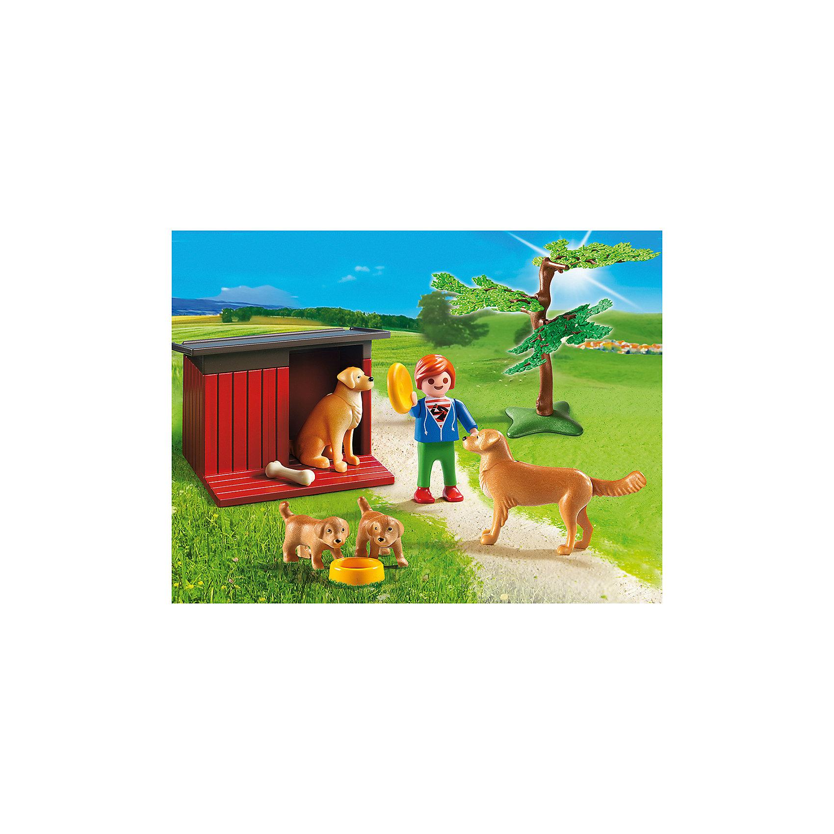PLAYMOBIL® Ферма: Золотые ретриверы с щенками, PLAYMOBIL playmobil мальчики с гоночным мотоциклом