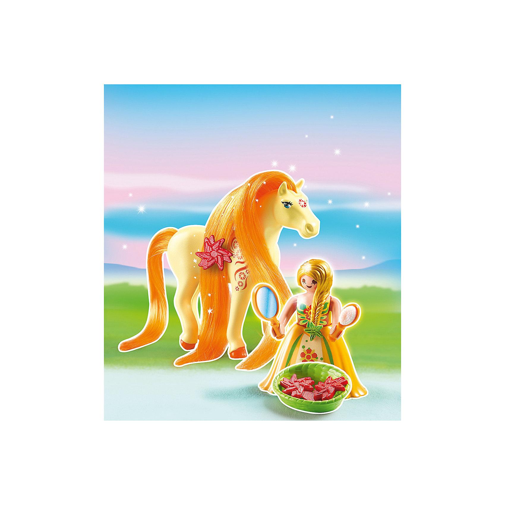Принцессы: Принцесса Санни с Лошадкой, PLAYMOBILПринцессы: Принцесса Санни с Лошадкой, PLAYMOBIL (Плэймобил)<br><br>Характеристики:<br><br>• можно расчесать лошадку и сделать ей прическу<br>• голова лошади подвижна<br>• материал: пластик<br>• в комплекте: лошадка, девочка, расческа, зеркало, заколка, корзинка<br>• размер упаковки: 16,9х24,6х8 см<br>• вес: 110 грамм<br><br>С помощью набора от Плэймобил ребенок сможет помочь девочки расчесать роскошную гриву лошадки и даже украсить ее заколкой. В комплекте вы найдете всё необходимое для этого. Аксессуары хорошо помещаются в руки девочки, что значительно облегчает процесс игры. Пышное платье принцессы можно снять, чтобы она смогла оседлать лошадку. Детали изготовлены из прочного высококачественного пластика. Этот набор непременно понравится вашему ребенку!<br><br>Принцессы: Принцесса Санни с Лошадкой, PLAYMOBIL (Плэймобил) вы можете купить в нашем интернет-магазине.<br><br>Ширина мм: 239<br>Глубина мм: 167<br>Высота мм: 73<br>Вес г: 101<br>Возраст от месяцев: 60<br>Возраст до месяцев: 120<br>Пол: Женский<br>Возраст: Детский<br>SKU: 3786432