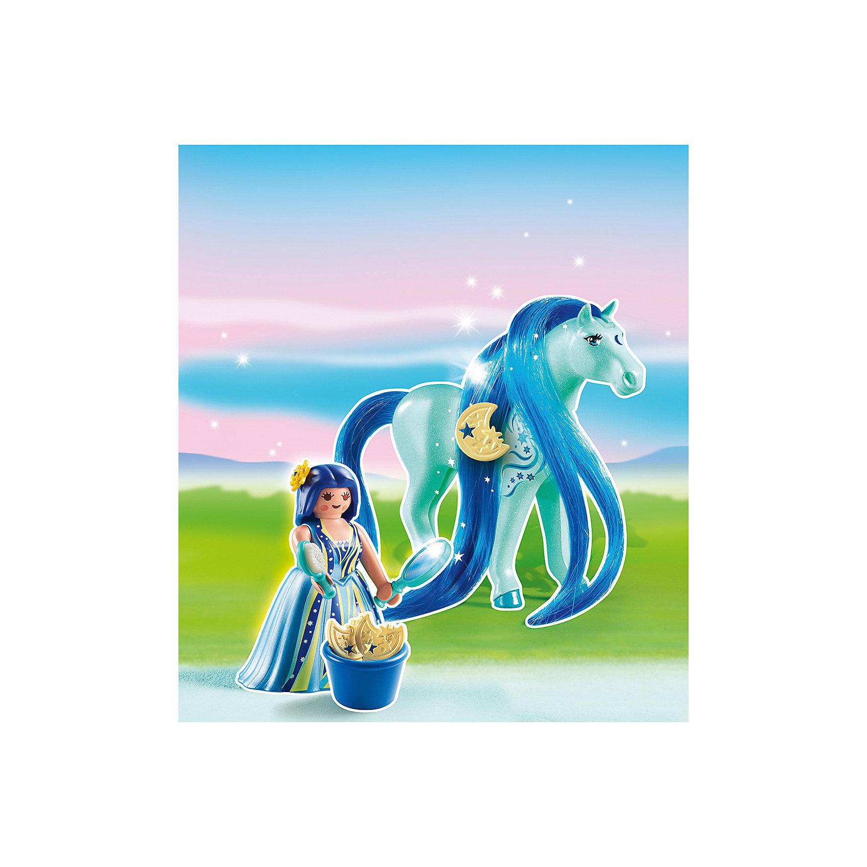 Принцессы: Принцесса Луна с Лошадкой, PLAYMOBILПластмассовые конструкторы<br>Принцессы: Принцесса Луна с Лошадкой, PLAYMOBIL (Плэймобил)<br><br>Характеристики:<br><br>• можно расчесать лошадку и сделать ей прическу<br>• голова лошади подвижна<br>• материал: пластик<br>• в комплекте: лошадка, девочка, расческа, зеркало, заколка, корзинка<br>• размер упаковки: 16,9х24,6х8 см<br>• вес: 110 грамм<br><br>С помощью набора от Плэймобил ребенок сможет помочь девочки расчесать роскошную гриву лошадки и даже украсить ее заколкой. В комплекте вы найдете всё необходимое для этого. Аксессуары хорошо помещаются в руки девочки, что значительно облегчает процесс игры. Пышное платье принцессы можно снять, чтобы она смогла оседлать лошадку. Детали изготовлены из прочного высококачественного пластика. Этот набор непременно понравится вашему ребенку!<br><br>Принцессы: Принцесса Луна с Лошадкой, PLAYMOBIL (Плэймобил) вы можете купить в нашем интернет-магазине.<br><br>Ширина мм: 240<br>Глубина мм: 165<br>Высота мм: 53<br>Вес г: 104<br>Возраст от месяцев: 60<br>Возраст до месяцев: 120<br>Пол: Женский<br>Возраст: Детский<br>SKU: 3786433