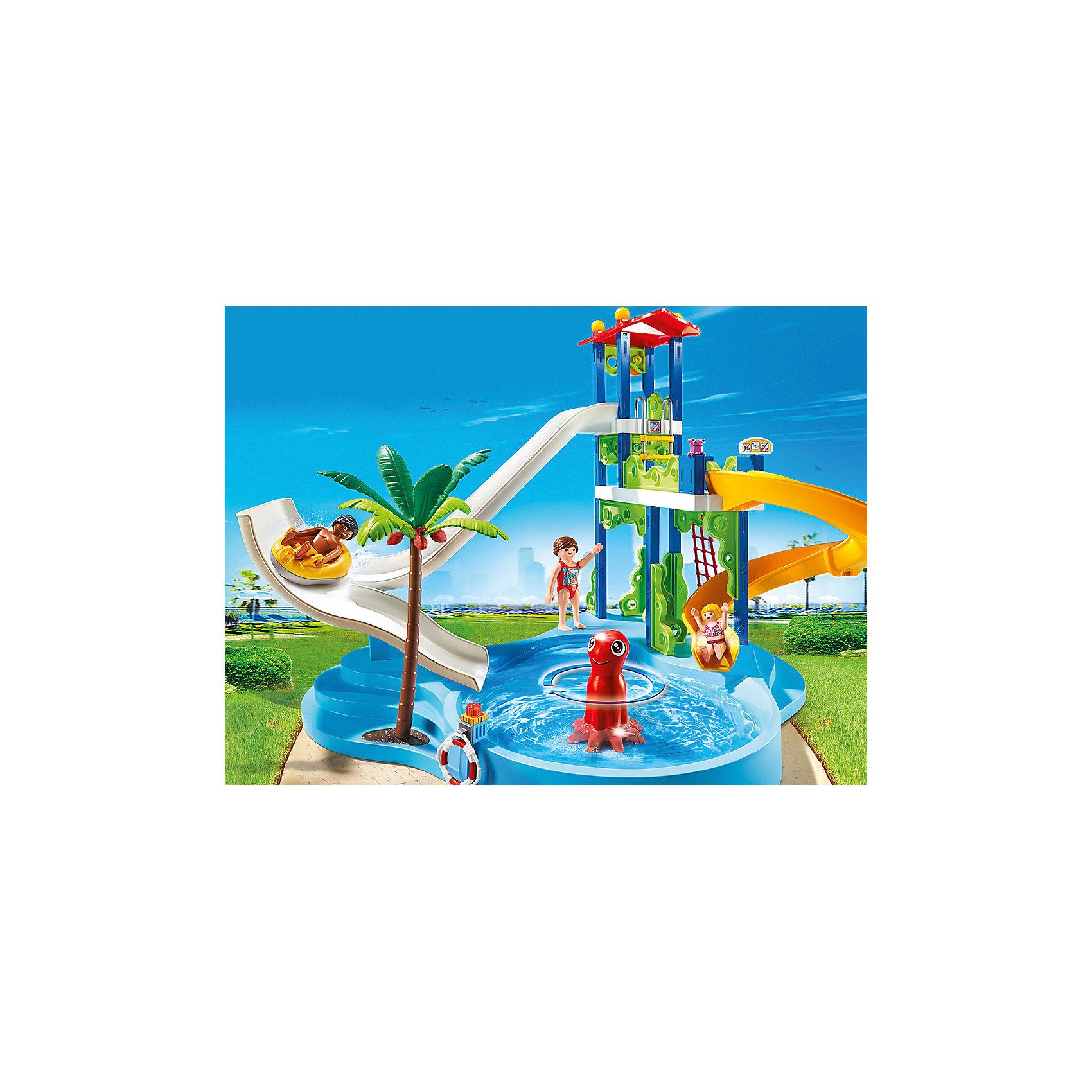 Аквапарк: Башня с горками, PLAYMOBILС этим замечательным набором ты попадешь в настоящий аквапарк! Прокатись на крутых горках. Можно кататься на рафтинге с большой горки, а еще можно спуститься со спиральной горки на большой скорости. Забраться наверх можно по веревочной лестнице, а рафтинг поднять специальным подъемником. В этом аквапарке не будет скучно. Так как спуск с горки на рафтинге может представлять опасность, на горке установлен светофор в виде осьминожки. Если горит зеленый цвет - можно катиться, а если красный - подождите, кто-то спускается перед вами.<br>В центре бассейна можно установить фигурку осьминога. Вращайте его и получится водоворот и волны, которые так любят дети. В наборе - 3 фигурки посетителей: 2 взрослых и ребенок. Все детали прекрасно проработаны и выполнены из высококачественного экологичного пластика безопасного для детей. Играть с таким набором не только приятно и интересно - подобные виды игры развивают мелкую моторику, воображение, творческое мышление.<br><br>Дополнительная информация:<br><br>- 3 фигурки в наборе. <br>- Комплектация: 3 фигурки, бассейн, 2 горки, пальма, аксессуары. <br>- Материал: пластик.<br>- Размер игрушки: 55 x 40 x 40 см.<br>- Высота фигурки: 7,5 см.<br>- Высота фигурки ребенка: 5,5 см. <br>- Голова, руки, ноги у фигурок подвижные.<br><br>Набор Аквапарк: Башня с горками, PLAYMOBIL (Плеймобил), можно купить в нашем магазине.<br><br>Ширина мм: 521<br>Глубина мм: 388<br>Высота мм: 147<br>Вес г: 1836<br>Возраст от месяцев: 48<br>Возраст до месяцев: 120<br>Пол: Унисекс<br>Возраст: Детский<br>SKU: 3786434