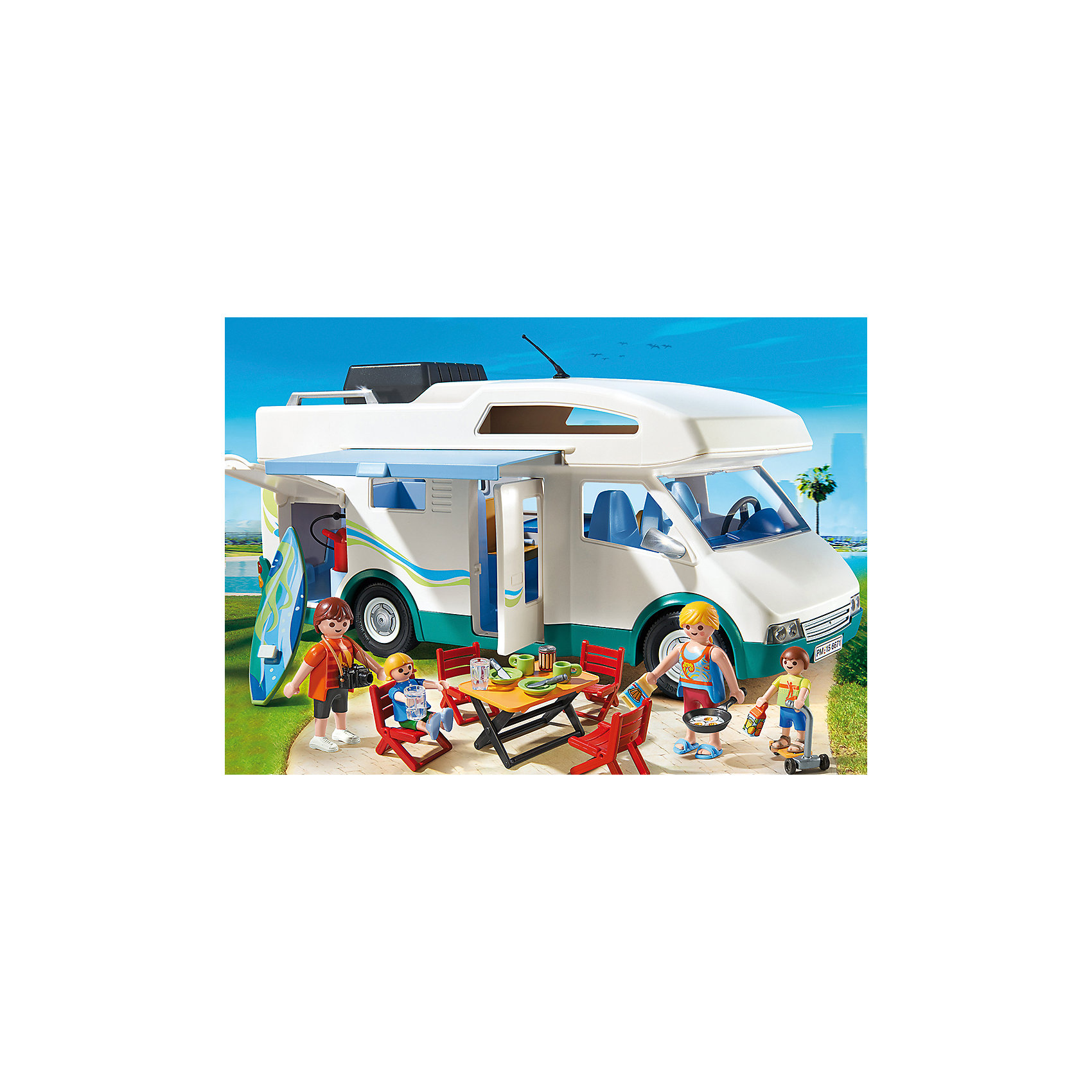 Аквапарк: Семейный автомобиль - дом на колесах, PLAYMOBILПрекрасный набор со множеством элементов и деталей. На таком замечательном семейном автомобиле можно отправиться куда угодно! Он укомплектован спальными местами на четырех человек, кухней, туалетом и местами для хранения продуктов и вещей.  Места для хранения находятся под детскими кроватями. По дороге в аквапарк остановись в понравившемся месте, установи на улице мебель, которая хранится на крыше дома на колесах и устрой веселый пикник. Чтобы попасть внутрь машины, просто снимите крышу. От солнца и дождя защитит выдвижной навес. В наборе - автомобиль,  мебель, 2 фигурки взрослых, 2 фигурки детей, всевозможные аксессуары, которые сделают игру еще интереснее и реалистичнее. Фигурки имеют подвижные конечности, в руки можно вложить различные предметы. Все детали набора прекрасно проработаны, выполнены из высококачественного пластика. Играть с таким набором не только приятно и интересно - подобные виды игры развивают мелкую моторику, воображение, творческое мышление.<br><br>Дополнительная информация:<br><br>- Комплектация: 4 фигурки, машина, 3 стула, стол, доска для серфинга, продукты, аксессуары.<br>- 4 фигурки в комплекте: родители (2 шт), дети (2 шт).<br>- Материал: пластик.<br>- Высота фигурки: 7,5 см.<br>- Высота фигурки ребенка: 5,5 см.<br>- Размер машины: 32 x 13 x 15 см<br><br>Набор Аквапарк: Семейный автомобиль - дом на колесах, PLAYMOBIL (Плеймобил), можно купить в нашем магазине.<br><br>Ширина мм: 346<br>Глубина мм: 248<br>Высота мм: 126<br>Вес г: 971<br>Возраст от месяцев: 48<br>Возраст до месяцев: 120<br>Пол: Унисекс<br>Возраст: Детский<br>SKU: 3786436