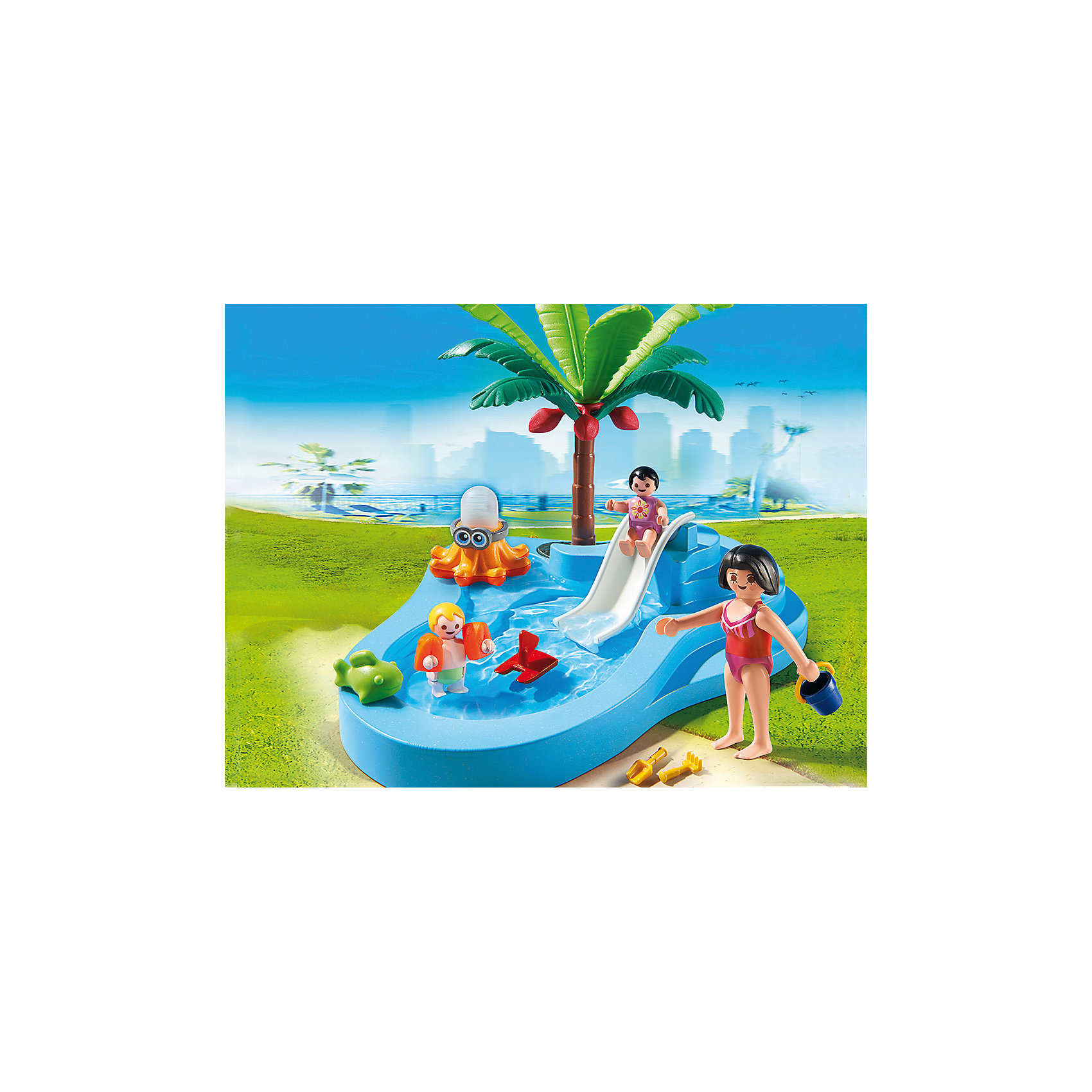 PLAYMOBIL® Аквапарк: Детский бассейн с горкой, PLAYMOBIL playmobil 5266 summer fun детский клуб с танц площадкой