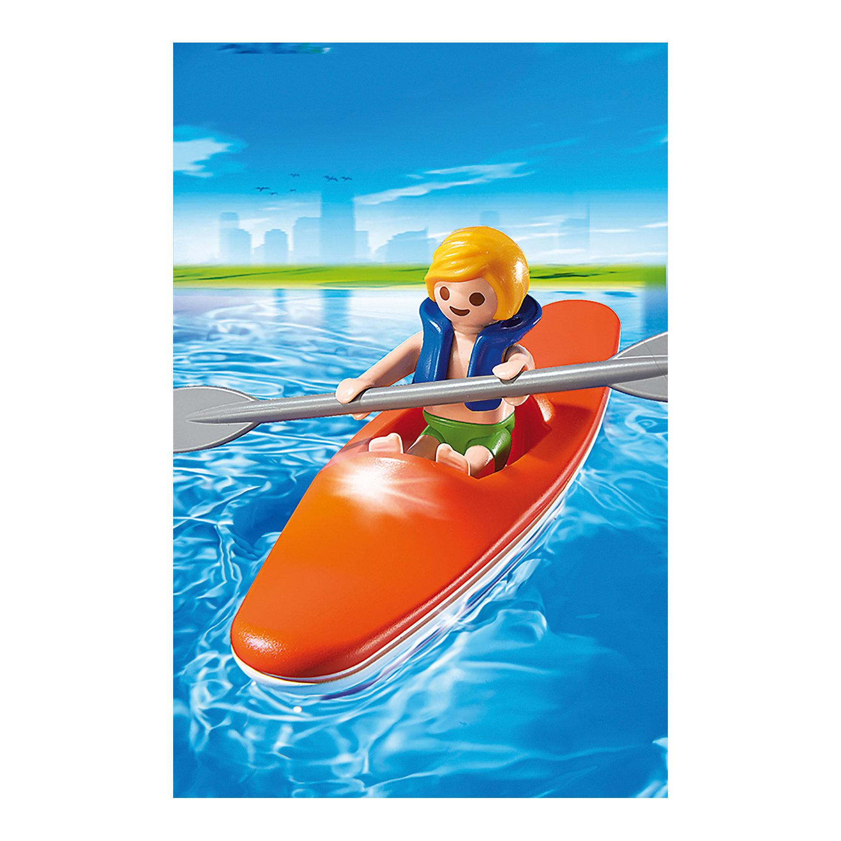 Аквапарк: Ребенок в каяке, PLAYMOBILПластмассовые конструкторы<br>Аквапарк: Ребенок в каяке, PLAYMOBIL (Плэймобил)<br><br>Характеристики:<br><br>• подходит для сюжетно-ролевых игр<br>• в комплекте: мальчик в спасательном жилете, весло, лодка-каяк<br>• материал: пластик<br>• высота фигурки: 5,25 см<br>• размер упаковки: 9,3х4,5х12,4 см<br>• вес: 60 грамм<br><br>Набор из серии Аквапарк от Плэймобил отлично дополнит коллекцию игрушек ребенка и поможет ему придумать приключения мальчика в каяке. В набор входит фигурка ребенка в спасательном жилете, лодка-каяк и весло, которое идеально помещается в руки фигурки. Все детали изготовлены из нетоксичного пластика, безопасного для детей. Игра поможет развить моторику рук, координацию и воображение.<br><br>Аквапарк: Ребенок в каяке, PLAYMOBIL (Плэймобил) вы можете купить в нашем интернет-магазине.<br><br>Ширина мм: 148<br>Глубина мм: 93<br>Высота мм: 49<br>Вес г: 57<br>Возраст от месяцев: 48<br>Возраст до месяцев: 120<br>Пол: Унисекс<br>Возраст: Детский<br>SKU: 3786439