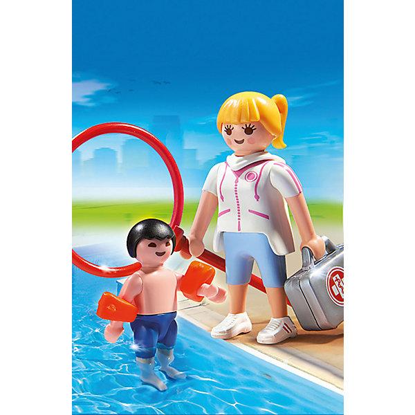 Аквапарк: Супервайзер в бассейне, PLAYMOBILПластмассовые конструкторы<br>Аквапарк: Супервайзер в бассейне, PLAYMOBIL (Плэймобил)<br><br>Характеристики:<br><br>• сочетается с другими наборами Playmobil<br>• изготовлены из нетоксичного пластика<br>• в комплекте: 2 фигурки, спасательный круг, нарукавники, аптечка<br>• материал: пластик<br>• размер упаковки: 9,3х4,5х12,4 см<br>• размер маленькой фигурки: 5,25 см<br>• размер большой фигурки: 7,5 см<br>• вес: 60 грамм<br><br>Набор Супервайзер в бассейне от Плэймобил подходит для создания увлекательных игровых сюжетов. Все аксессуары идеально подходят для рук фигурок и могут сочетаться с другими игрушками из наборов Плэймобил. В комплект входят 2 фигурки (супервайзер и ребенок), нарукавники, спасательный круг и аптечка. Ваш ребенок придумает интересную историю и вспомнит правила поведения в бассейне в игровой форме. Кроме того, такие игры способствуют развитию моторики рук, координации и воображения.<br><br>Аквапарк: Супервайзер в бассейне, PLAYMOBIL (Плэймобил) вы можете купить в нашем интернет-магазине.<br><br>Ширина мм: 148<br>Глубина мм: 93<br>Высота мм: 48<br>Вес г: 61<br>Возраст от месяцев: 48<br>Возраст до месяцев: 120<br>Пол: Унисекс<br>Возраст: Детский<br>SKU: 3786442