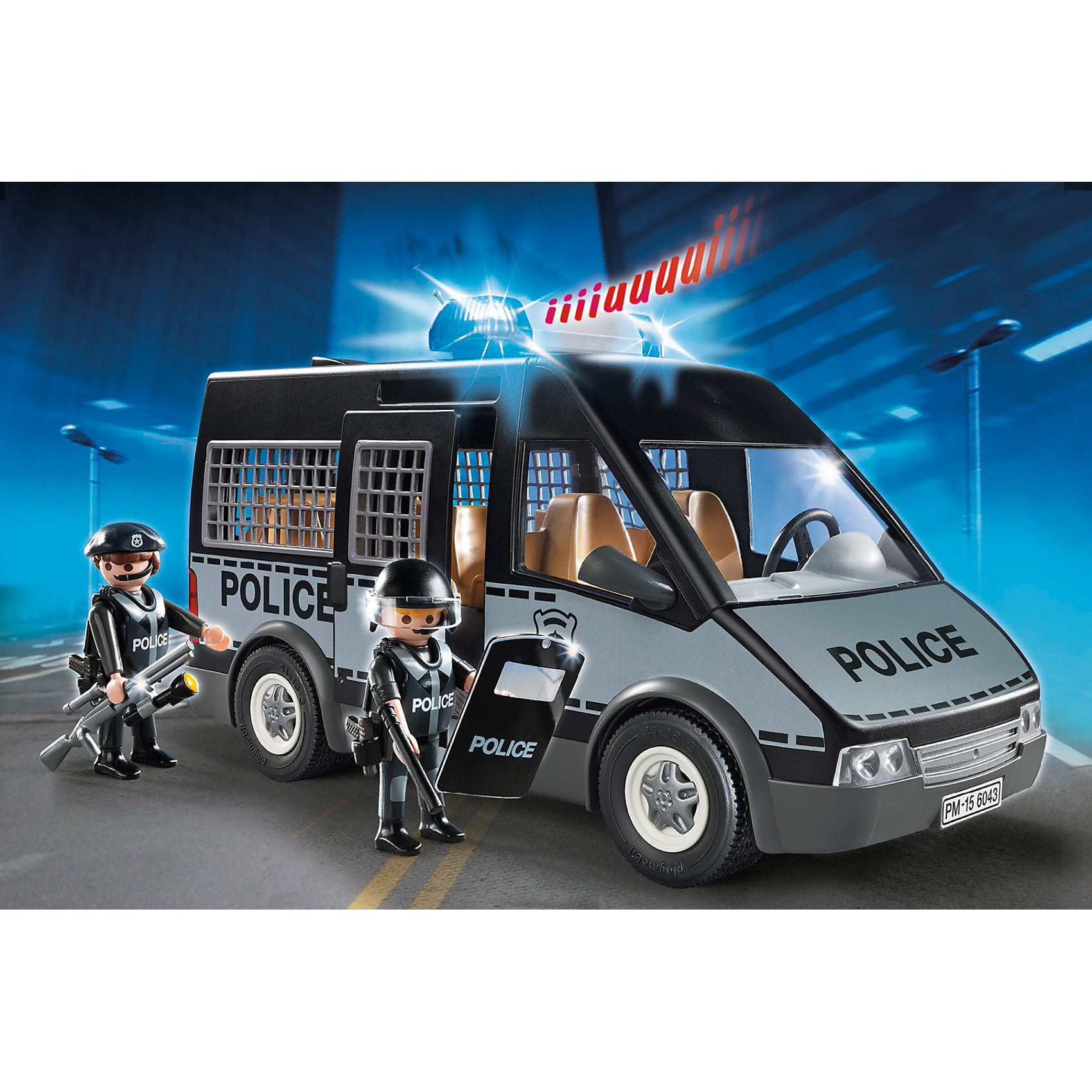 Бронированный фургон с полицейскими, со светом и звуком, PLAYMOBILЭтому бронированному полицейскому фургону не страшны пули преступников! Скорее прыгай в машину и мчись спасать мирный жителей! В наборе - 2 фигурки полицейских. Фургон имеет открывающуюся дверь, подвижные колеса, оснащен мигалкой и сиреной. Фигурки имеют подвижные конечности, в руки можно вложить различные предметы. Все детали набора прекрасно проработаны, выполнены из высококачественного пластика. Играть с таким набором не только приятно и интересно - подобные виды игры развивают мелкую моторику, воображение, творческое мышление.<br><br>Дополнительная информация:<br><br>- Комплектация: 2 фигурки, оружие, фургон.<br>- 2 фигурки в комплекте.<br>- Материал: пластик.<br>- Звуковые и световые эффекты.<br>- Высота фигурки: 7,5 см.<br>- Размер упаковки: 28,4х19х12,4 см.<br>- Элемент питания: 1 ААА батарейка (не входит в комплект).<br><br>Бронированный фургон с полицейскими, со светом и звуком, PLAYMOBIL (Плеймобил), можно купить в нашем магазине.<br><br>Ширина мм: 287<br>Глубина мм: 187<br>Высота мм: 127<br>Вес г: 673<br>Возраст от месяцев: 48<br>Возраст до месяцев: 120<br>Пол: Мужской<br>Возраст: Детский<br>SKU: 3786451