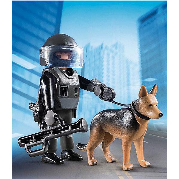 Экстра-набор: Полицейский спецназовец с собакой, PLAYMOBILПластмассовые конструкторы<br>В набор входит фигурка спецназовца в форме и шлеме, собака и оружие. Фигурка имеет подвижные конечности, в руки можно вложить инструменты. Все детали прекрасно проработаны и выполнены из высококачественного экологичного пластика безопасного для детей. <br><br>Дополнительная информация:<br><br>- 1 фигурка в наборе. <br>- Комплектация: фигурка, собака, оружие.<br>- Материал: пластик.<br>- Размер упаковки: 13х10х3 см.<br>- Высота фигурки: 7,5 см.<br>- Голова, руки, ноги у фигурки подвижные.<br><br>Экстра-набор: Полицейский спецназовец с собакой, PLAYMOBIL (Плеймобил), можно купить в нашем магазине.<br><br>Ширина мм: 129<br>Глубина мм: 93<br>Высота мм: 35<br>Вес г: 52<br>Возраст от месяцев: 48<br>Возраст до месяцев: 120<br>Пол: Мужской<br>Возраст: Детский<br>SKU: 3786454