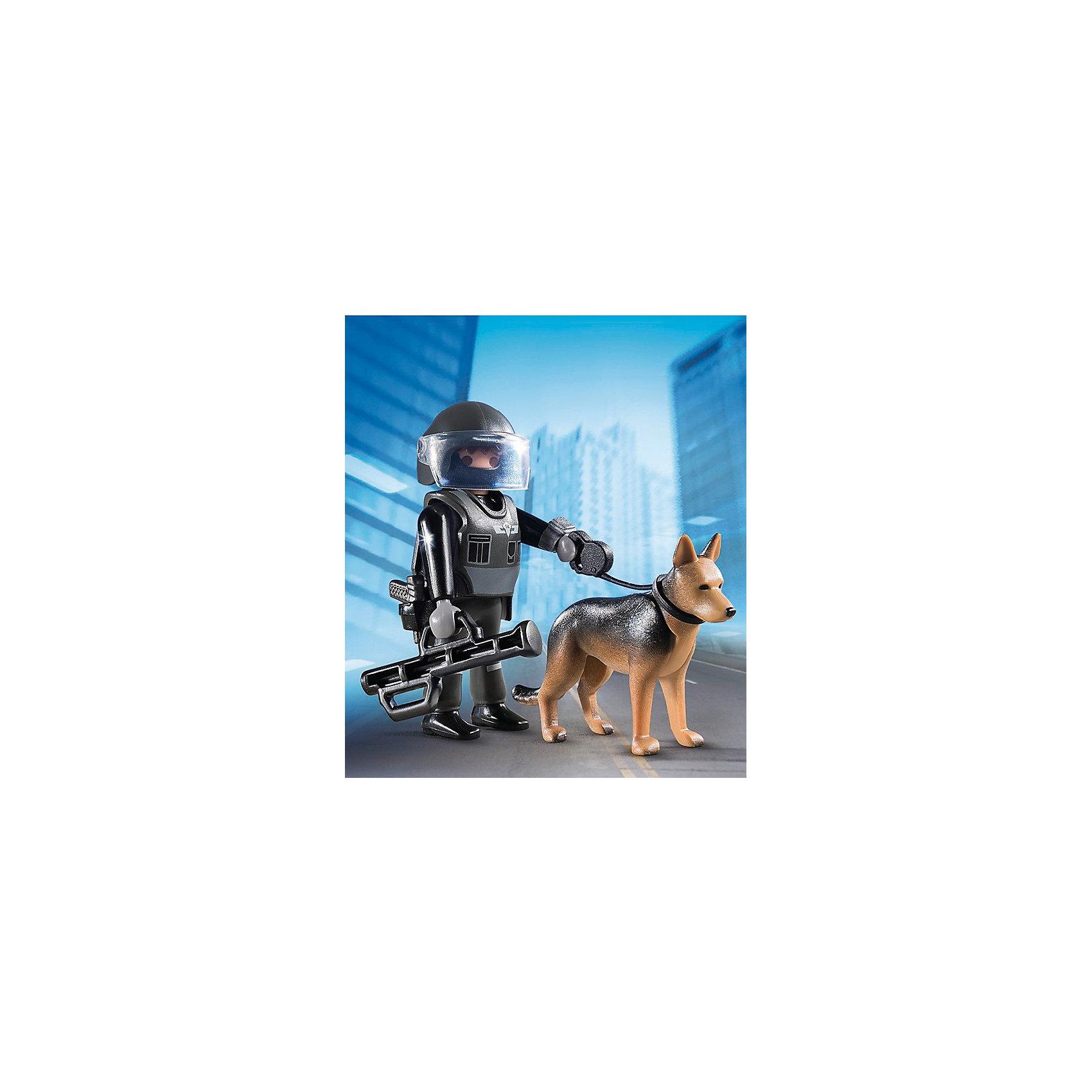 PLAYMOBIL® Экстра-набор: Полицейский спецназовец с собакой, PLAYMOBIL playmobil спасатели с носилками