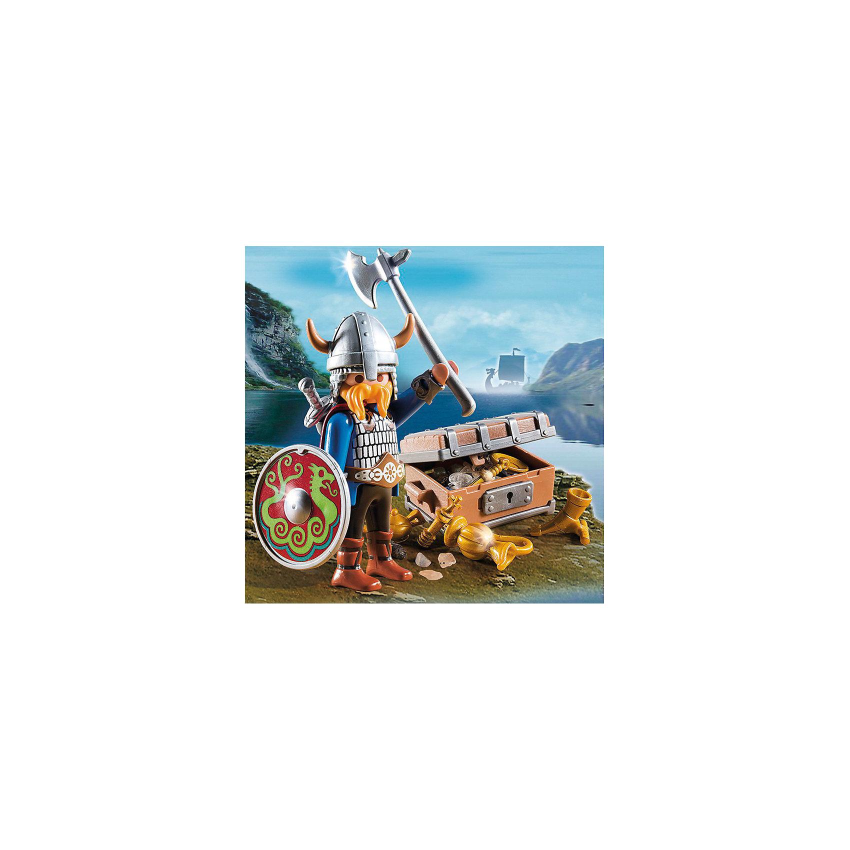 Экстра-набор: Викинг с сокровищами, PLAYMOBILПластмассовые конструкторы<br>В набор входит фигурка викинга, сундук с сокровищами, оружие и аксессуары, которые сделают игру еще реалистичнее и увлекательнее. Фигурка имеет подвижные конечности, в руки можно вложить различные предметы. Все детали прекрасно проработаны и выполнены из высококачественного экологичного пластика безопасного для детей. Играть с таким набором не только приятно и интересно - подобные виды игры развивают мелкую моторику, воображение, творческое мышление.<br><br>Дополнительная информация:<br><br>- 1 фигурка в наборе. <br>- Комплектация: фигурка, сундук, аксессуары, оружие.<br>- Материал: пластик.<br>- Размер упаковки: 13х10х3 см.<br>- Высота фигурки: 7,5 см.<br>- Голова, руки, ноги у фигурки подвижные.<br><br>Экстра-набор: Викинг с сокровищами, PLAYMOBIL (Плеймобил), можно купить в нашем магазине.<br><br>Ширина мм: 136<br>Глубина мм: 93<br>Высота мм: 32<br>Вес г: 81<br>Возраст от месяцев: 48<br>Возраст до месяцев: 120<br>Пол: Мужской<br>Возраст: Детский<br>SKU: 3786456