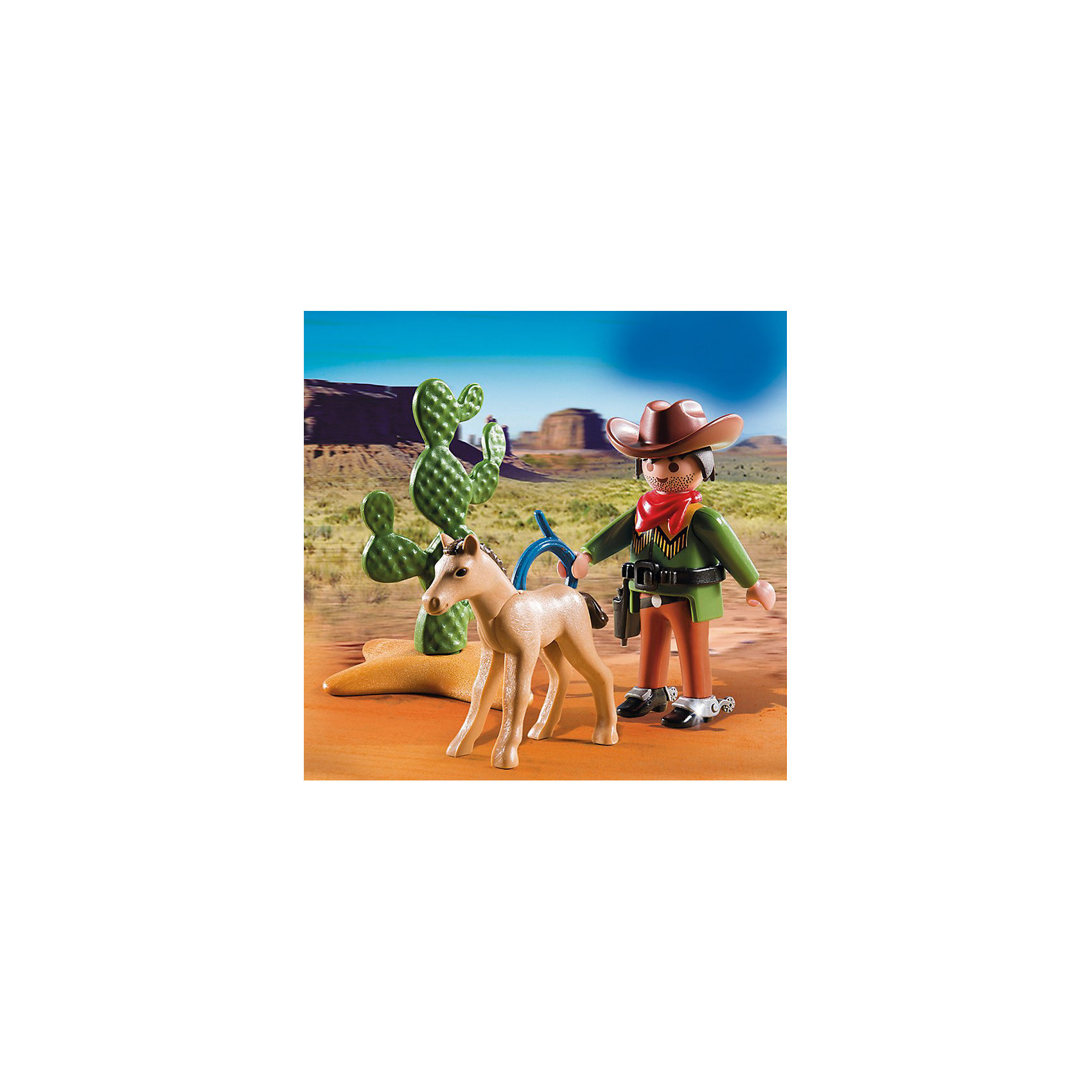PLAYMOBIL® Экстра-набор: Ковбой с жеребенком, PLAYMOBIL playmobil® зоопарк стая фламинго playmobil