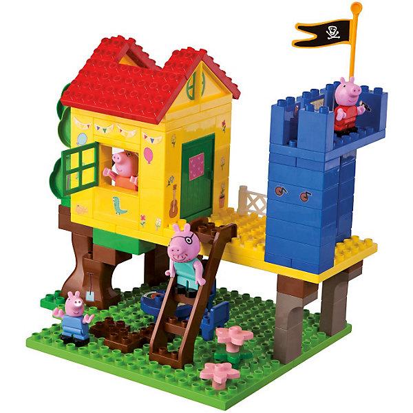 Конструктор Дом на дереве, Свинка Пеппа, 94 деталейПластмассовые конструкторы<br>Конструктор Дом на дереве, Свинка Пеппа представляет собой уютный маленький домик на дереве. Маленький домик на дереве - мечта любого ребенка! Построй этот дом вместе с Пеппой и играй с маленькими свинками. Под деревом, в тени дома, имеется прекрасная обеденная площадка со столом и стульями. На втором этаже - сам домик и уютная открытая веранда, на которой располагается часть настоящего замка с пиратским флагом. Детали конструктора имеют размер, идеально подходящий для маленьких детских ручек. Изготовлены из высококачественного пластика, не имеют острых углов, безопасны для ребенка. Благодаря хорошо проработанным креплениям, конструктор легко собирается и разбирается, детали быстро и прочно крепятся друг к другу. Игра с конструктором развивает  творческие способности, мелкую моторику, навыки конструирования, внимание.<br><br>Дополнительная информация:<br><br>- Комплектация: дом, фигурки свинок ( 4 шт.), панель, на которую крепятся детали, стена замка, домик, дерево, стол, стулья, предметы интерьера и декора.<br>- Количество деталей: 94 шт.<br>- Материал: пластик<br>- Размеры коробки: 55.5 x 33 x 9.7 см.<br>- Детали совместимы с Lego Duplo<br><br><br>Конструктор Дом на дереве, Свинка Пеппа (Peppa Pig) можно купить в нашем магазине.<br><br>Ширина мм: 560<br>Глубина мм: 332<br>Высота мм: 106<br>Вес г: 1681<br>Возраст от месяцев: 18<br>Возраст до месяцев: 36<br>Пол: Унисекс<br>Возраст: Детский<br>SKU: 3787589