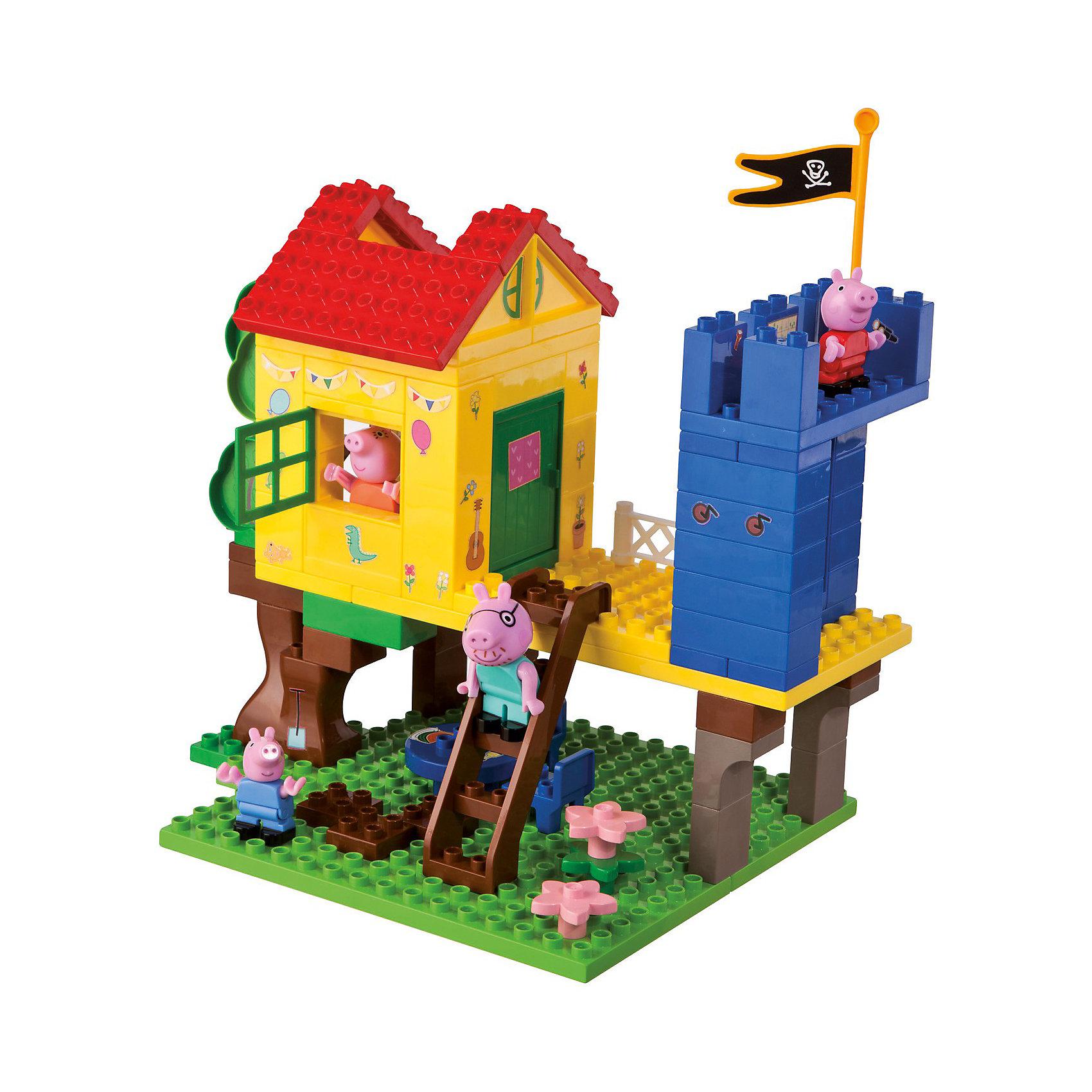 Конструктор Дом на дереве, Свинка Пеппа, 94 деталейПластмассовые конструкторы<br>Конструктор Дом на дереве, Свинка Пеппа представляет собой уютный маленький домик на дереве. Маленький домик на дереве - мечта любого ребенка! Построй этот дом вместе с Пеппой и играй с маленькими свинками. Под деревом, в тени дома, имеется прекрасная обеденная площадка со столом и стульями. На втором этаже - сам домик и уютная открытая веранда, на которой располагается часть настоящего замка с пиратским флагом. Детали конструктора имеют размер, идеально подходящий для маленьких детских ручек. Изготовлены из высококачественного пластика, не имеют острых углов, безопасны для ребенка. Благодаря хорошо проработанным креплениям, конструктор легко собирается и разбирается, детали быстро и прочно крепятся друг к другу. Игра с конструктором развивает  творческие способности, мелкую моторику, навыки конструирования, внимание.<br><br>Дополнительная информация:<br><br>- Комплектация: дом, фигурки свинок ( 4 шт.), панель, на которую крепятся детали, стена замка, домик, дерево, стол, стулья, предметы интерьера и декора.<br>- Количество деталей: 94 шт.<br>- Материал: пластик<br>- Размеры коробки: 55.5 x 33 x 9.7 см.<br>- Детали совместимы с Lego Duplo<br><br><br>Конструктор Дом на дереве, Свинка Пеппа (Peppa Pig) можно купить в нашем магазине.<br><br>Ширина мм: 560<br>Глубина мм: 332<br>Высота мм: 109<br>Вес г: 1683<br>Возраст от месяцев: 18<br>Возраст до месяцев: 36<br>Пол: Унисекс<br>Возраст: Детский<br>SKU: 3787589