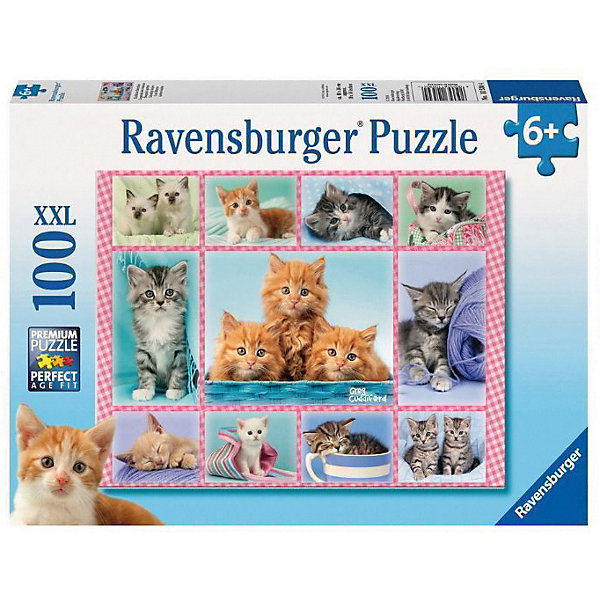 Пазл «Забавные котята», 100 деталей, RavensburgerПазлы для малышей<br>Все дети обожают котят! А ведь они бывают очень разными. Познакомься со всеми собирая увлекательный пазл Забавные котята от Ravensburger (Равенсбургер). Котята мягкие пушистые и очень доверчивые! В пазле спрятаны много разноцветных, симпатичных котят, найди их всех!  Картинка крупная и яркая, поэтому малыш будет с удовольствием собирать ее снова и снова! Картинка получается настолько яркой и привлекательной, что ее можно использовать, как украшение комнаты, стоит только наклеить собранный пазл на картон. Вас порадует, что плотный картон, из которого состоит пазл не мнется во время сборки, яркая картинка защищена от расслаивания, благодаря чему такой пазл способен служить долгое время.<br>Пазл «Забавные котята» от Ravensburger (Равенсбургер) - это полезное и увлекательное занятие для всей семьи!<br> <br>Дополнительная информация:<br><br>- Развивает моторику и внимание;<br>- Прекрасный подарок;<br>- Матовая поверхность исключает отблески;<br>- Очень качественные элементы не расслаиваются;<br>- Материал: картон;<br>- Размер готовой картинки: 49 х 36 см;<br>- Размер упаковки: 34 х 23 х 4 см;<br>- Вес: 535 г<br><br>Пазл «Забавные котята» 100 деталей, Ravensburger (Равенсбургер) можно купить в нашем интернет-магазине.<br><br>Ширина мм: 340<br>Глубина мм: 230<br>Высота мм: 40<br>Вес г: 535<br>Возраст от месяцев: 72<br>Возраст до месяцев: 144<br>Пол: Унисекс<br>Возраст: Детский<br>Количество деталей: 100<br>SKU: 3787604