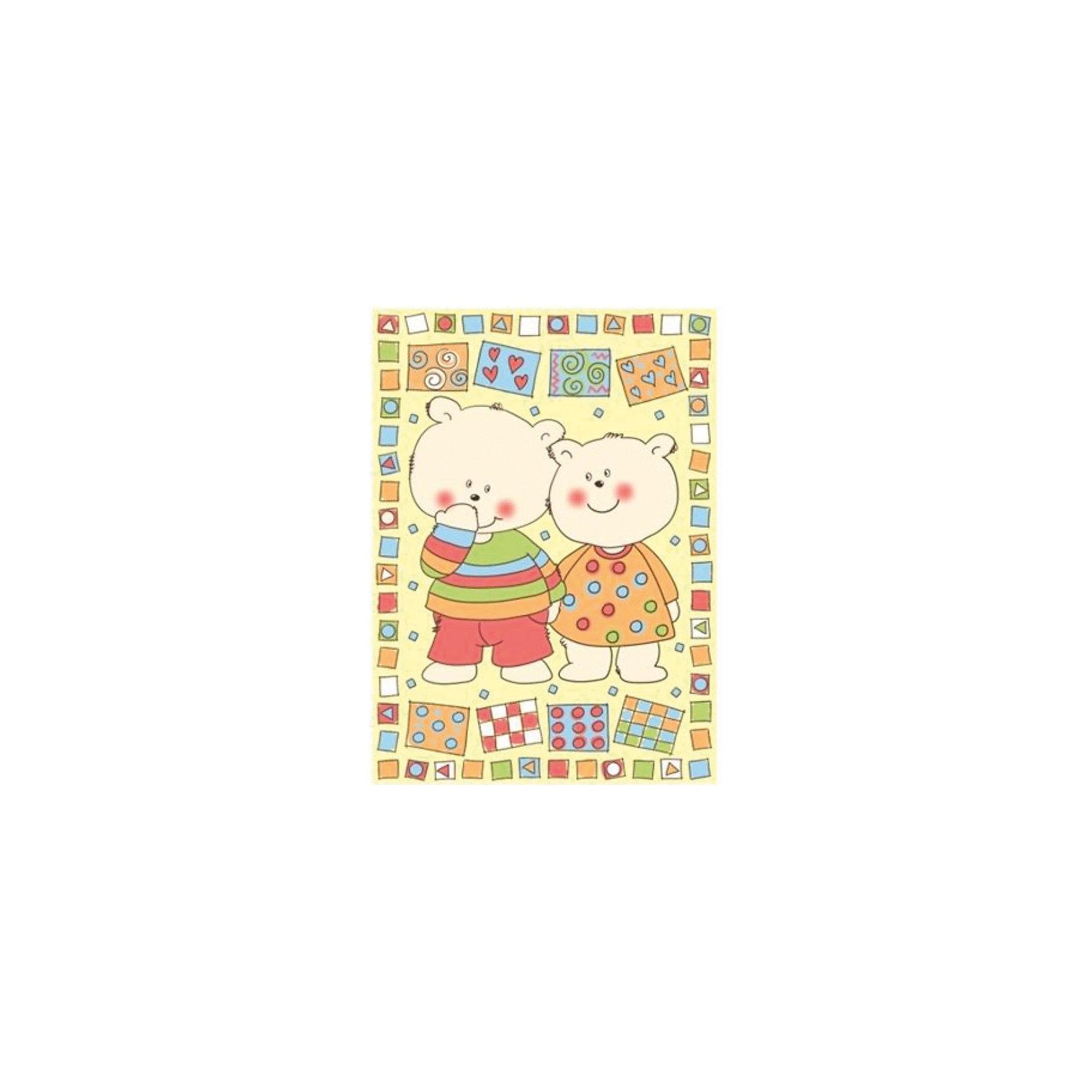 Одеяло байковое Два медведя, 100х140 см, Baby Nice, жёлтый