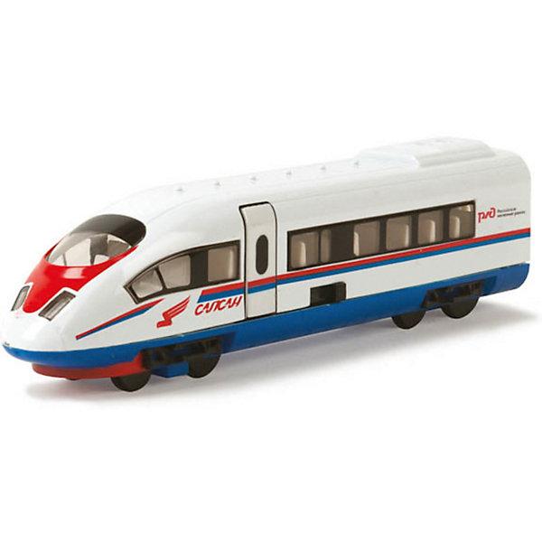 Поезд Сапсан РЖД, инерционный, со светом и звуком, ТЕХНОПАРКЖелезные дороги<br>Поезд Сапсан РЖД, инерционный, со светом и звуком, ТЕХНОПАРК – эта коллекционная игрушка, миниатюрная копия настоящего поезда.<br>Коллекционная модель поезда Сапсан из серии Технопарк обладает высокой реалистичностью за счет большого числа двигающихся элементов (открываются двери), звуковых и световых эффектов. Модель сделана из металла и оснащена инерционным механизмом: стоит откатить ее назад, слегка нажав на крышу, и отпустить, и поезд с большой скоростью поедет вперед. Все достоинства игрушки обязательно оценит мальчик, увлекающийся современными транспортными средствами. <br><br>Дополнительная информация:<br><br>- Материал: металл, пластик<br>- Размер упаковки: 24 х 12.5 х 5 см.<br>- Размер игрушки: 18 х 4 см.<br>- Требуются батарейки: 3 х LR41 (в комплект не входят)<br><br>Поезд Сапсан РЖД, инерционный, со светом и звуком, ТЕХНОПАРК можно купить в нашем интернет-магазине.<br>Ширина мм: 240; Глубина мм: 60; Высота мм: 130; Вес г: 270; Возраст от месяцев: 36; Возраст до месяцев: 120; Пол: Мужской; Возраст: Детский; SKU: 3789469;