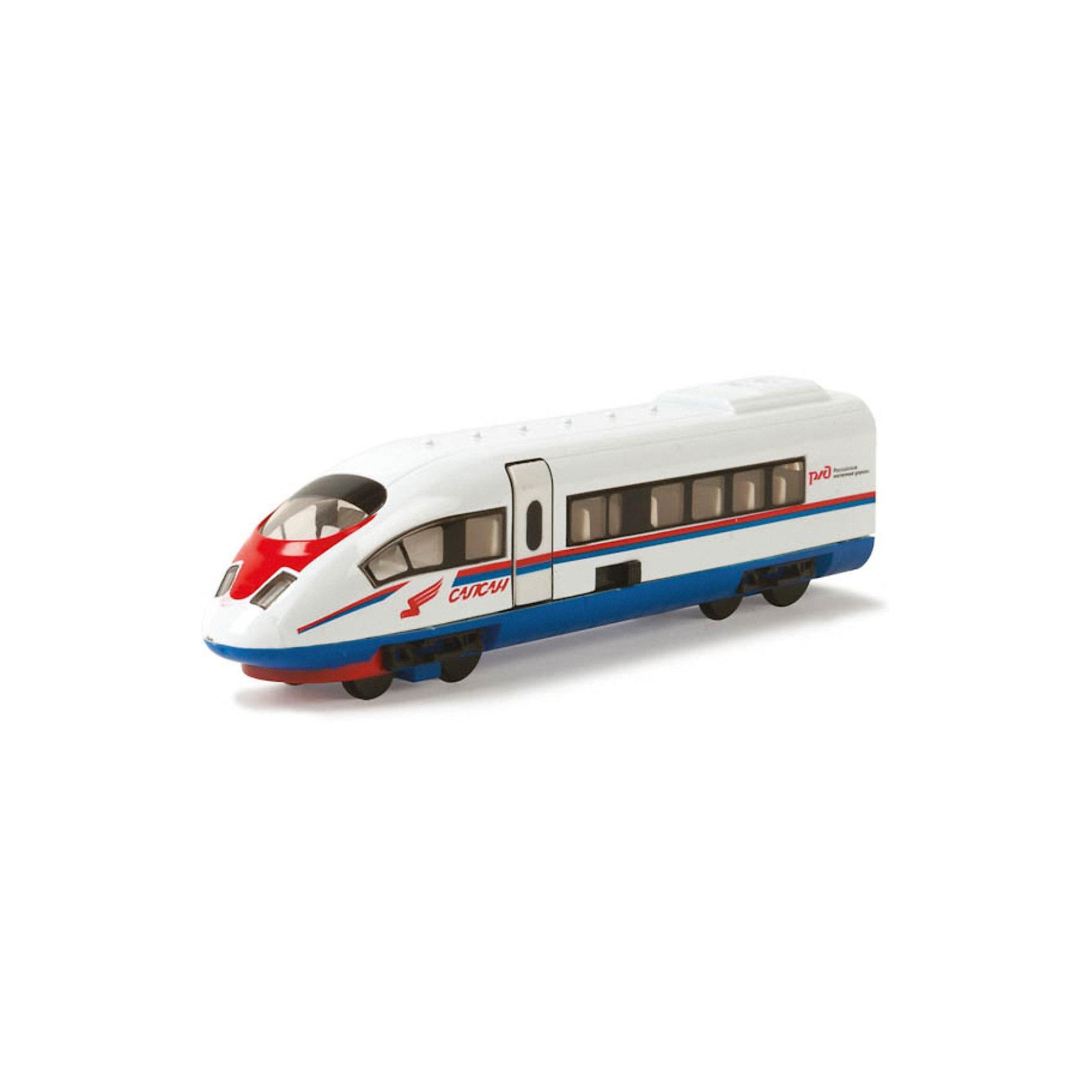 Поезд Сапсан РЖД, инерционный, со светом и звуком, ТЕХНОПАРКИгрушечная железная дорога<br>Поезд Сапсан РЖД, инерционный, со светом и звуком, ТЕХНОПАРК – эта коллекционная игрушка, миниатюрная копия настоящего поезда.<br>Коллекционная модель поезда Сапсан из серии Технопарк обладает высокой реалистичностью за счет большого числа двигающихся элементов (открываются двери), звуковых и световых эффектов. Модель сделана из металла и оснащена инерционным механизмом: стоит откатить ее назад, слегка нажав на крышу, и отпустить, и поезд с большой скоростью поедет вперед. Все достоинства игрушки обязательно оценит мальчик, увлекающийся современными транспортными средствами. <br><br>Дополнительная информация:<br><br>- Материал: металл, пластик<br>- Размер упаковки: 24 х 12.5 х 5 см.<br>- Размер игрушки: 18 х 4 см.<br>- Требуются батарейки: 3 х LR41 (в комплект не входят)<br><br>Поезд Сапсан РЖД, инерционный, со светом и звуком, ТЕХНОПАРК можно купить в нашем интернет-магазине.<br><br>Ширина мм: 240<br>Глубина мм: 60<br>Высота мм: 130<br>Вес г: 270<br>Возраст от месяцев: 36<br>Возраст до месяцев: 120<br>Пол: Мужской<br>Возраст: Детский<br>SKU: 3789469