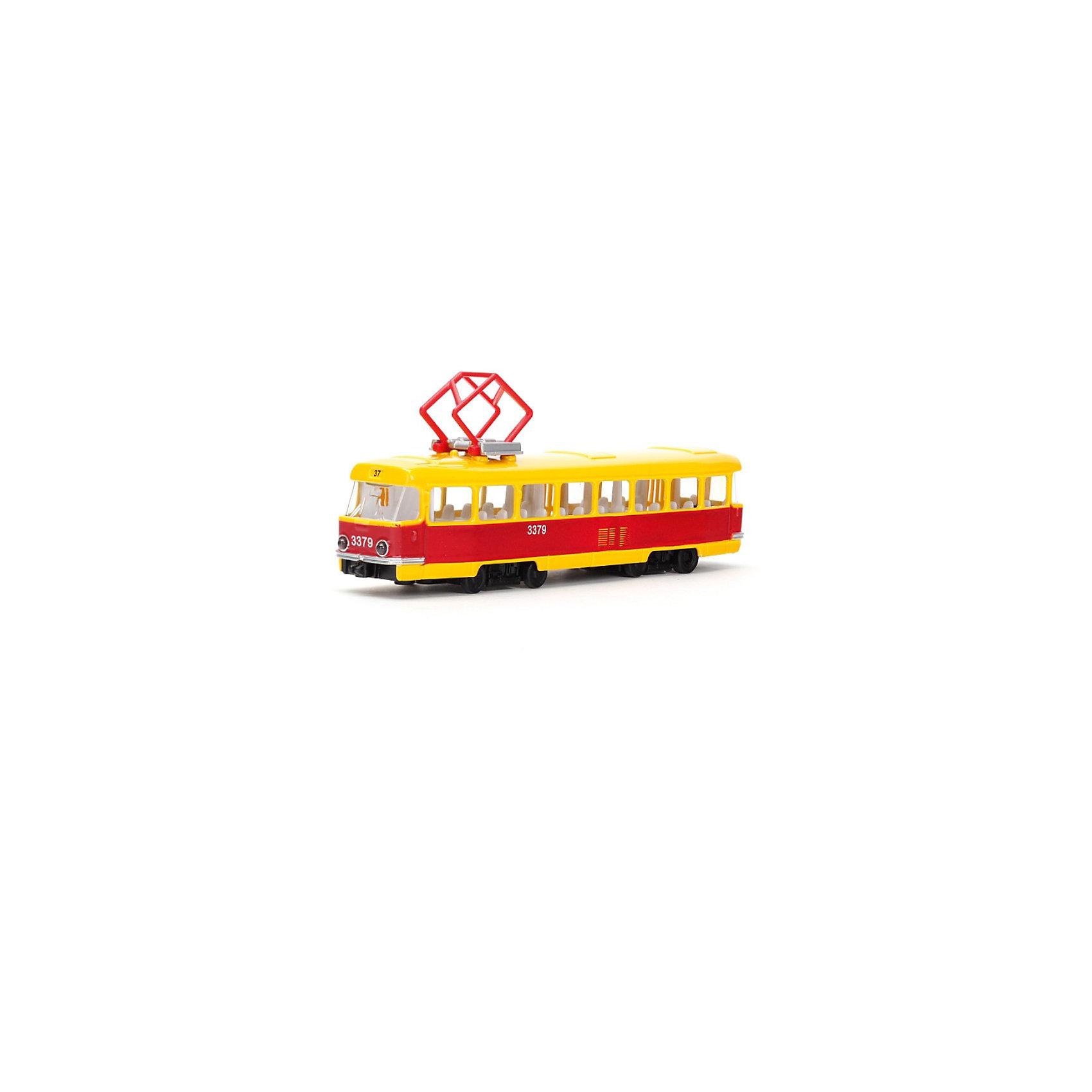 Трамвай, инерционный, со светом и звуком, ТЕХНОПАРКТрамвай, инерционный, со светом и звуком, ТЕХНОПАРК – эта масштабная модель, которая передает все нюансы корпуса настоящего трамвая.<br>Трамвай выполнен в масштабе 1:43, имеет литой металлический корпус, фары, прочные, небьющиеся стекла, большие резиновые колеса, что очень нравится всем детям. Трамвай оснащен инерционным механизмом, световыми эффектами, а также функцией открывания и закрывания дверей. Трамвай - замечательный подарок, ведь он принесет малышу не только радость, но и познакомит с удивительным миром техники.<br><br>Дополнительная информация:<br><br>- Материал: металл, пластик<br>- Масштаб модели: 1:43<br>- Размер упаковки: 24,5 х 14,5 х 5 см.<br>- Длина трамвая: 16,5 см.<br>- Требуются батарейки: 3 х LR41 (в комплект не входят)<br><br>Трамвай, инерционный, со светом и звуком, ТЕХНОПАРК можно купить в нашем интернет-магазине.<br><br>Ширина мм: 250<br>Глубина мм: 50<br>Высота мм: 150<br>Вес г: 270<br>Возраст от месяцев: 36<br>Возраст до месяцев: 120<br>Пол: Мужской<br>Возраст: Детский<br>SKU: 3789470