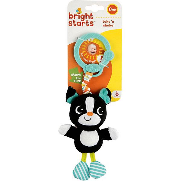 Развивающая игрушка Дрожащий дружок Собачка, Bright StartsИгрушки для новорожденных<br>Развивающая игрушка Дрожащий дружок Собачка, Bright Starts обязательно позабавит вашего малыша. Игрушка - собачка прикреплена к кольцу. Как только ваш малыш потянет на нее, игрушка начнет смешно вибрировать. Кольцо можно прикрепить на кроватку, коляску или развивающий коврик. <br><br>Дополнительная информация:<br><br>-Тип: развивающая игрушка<br>-Материал корпуса: пластик, ткань, мех.<br>-Вибрирует<br>-Размеры: 8x5x26 см<br><br>Развивающую игрушку Дрожащий дружок Собачку, Bright Starts (Брайт Стартс) можно купить в нашем магазине.<br>Ширина мм: 90; Глубина мм: 60; Высота мм: 290; Вес г: 87; Возраст от месяцев: 3; Возраст до месяцев: 36; Пол: Унисекс; Возраст: Детский; SKU: 3789515;