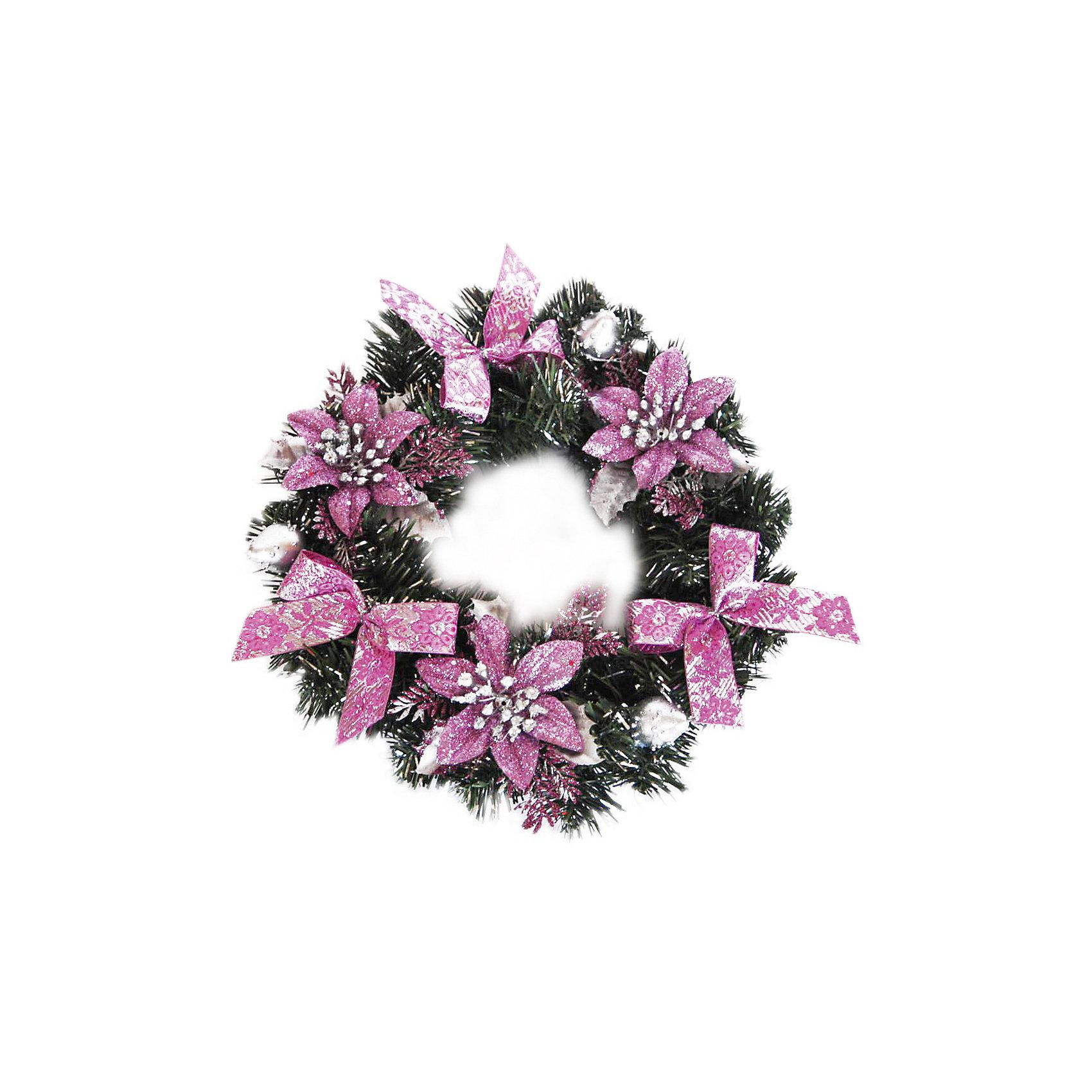 Венок рождественский ,30 см, розовые украшенияВенок рождественский, Волшебная страна станет замечательным украшением Вашего интерьера и поможет создать волшебную атмосферу новогодних и рождественских<br>праздников. Нарядный, искусно выполненный венок в виде еловых веток украшен розовыми цветами и бантиками. Венок можно повесить на двери или стены комнаты, он будет<br>чудесно смотреться и радовать детей и взрослых. <br><br>Дополнительная информация:<br><br>- Цвет украшений: розовый.<br>- Диаметр венка: 30 см.<br>- Размер упаковки: 29,2 х 8,5 х 28,4 см.<br>- Вес: 0,202 кг. <br><br>Венок рождественский, Волшебная страна можно купить в нашем интернет-магазине.<br><br>Ширина мм: 520<br>Глубина мм: 290<br>Высота мм: 90<br>Вес г: 202<br>Возраст от месяцев: 60<br>Возраст до месяцев: 180<br>Пол: Унисекс<br>Возраст: Детский<br>SKU: 3791296
