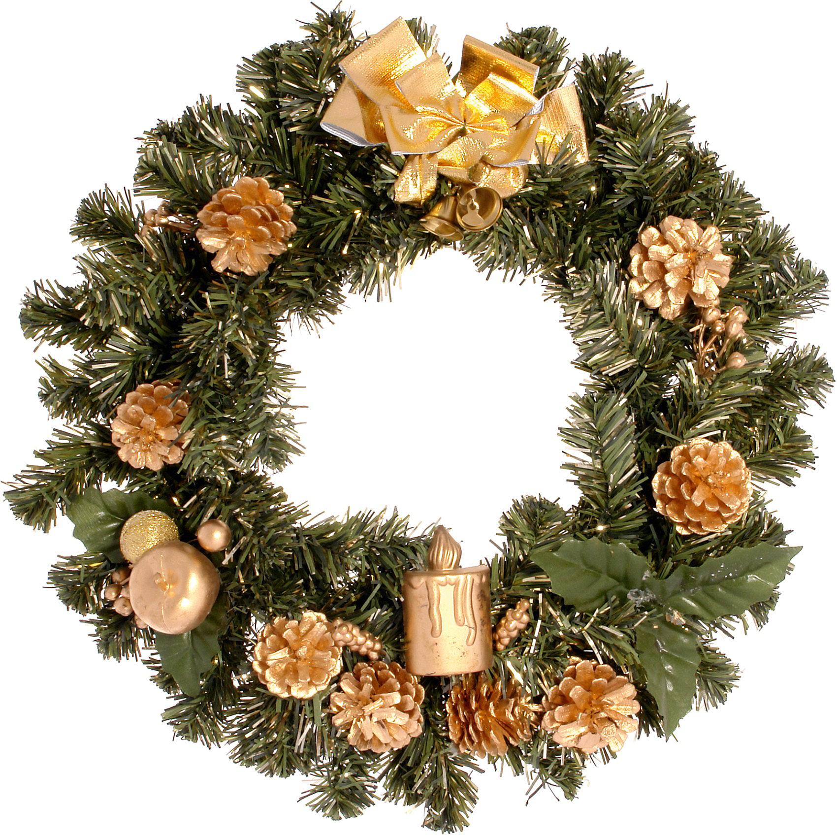 Венок рождественский, 36 см, золотые украшенияВенок рождественский, Волшебная страна станет замечательным украшением Вашего интерьера и поможет создать волшебную атмосферу новогодних и рождественских<br>праздников. Нарядный, искусно выполненный венок в виде еловых веток украшен позолоченными шишками и шариками. Венок можно повесить на двери или стены комнаты, он<br>будет чудесно смотреться и радовать детей и взрослых. <br><br>Дополнительная информация:<br><br>- Цвет украшений: золотой.<br>- Диаметр венка: 36 см.<br>- Размер упаковки: 34 х 34,5 х 8 см.<br>- Вес: 0,38 кг. <br><br>Венок рождественский, Волшебная страна можно купить в нашем интернет-магазине.<br><br>Ширина мм: 650<br>Глубина мм: 350<br>Высота мм: 80<br>Вес г: 392<br>Возраст от месяцев: 60<br>Возраст до месяцев: 180<br>Пол: Унисекс<br>Возраст: Детский<br>SKU: 3791298