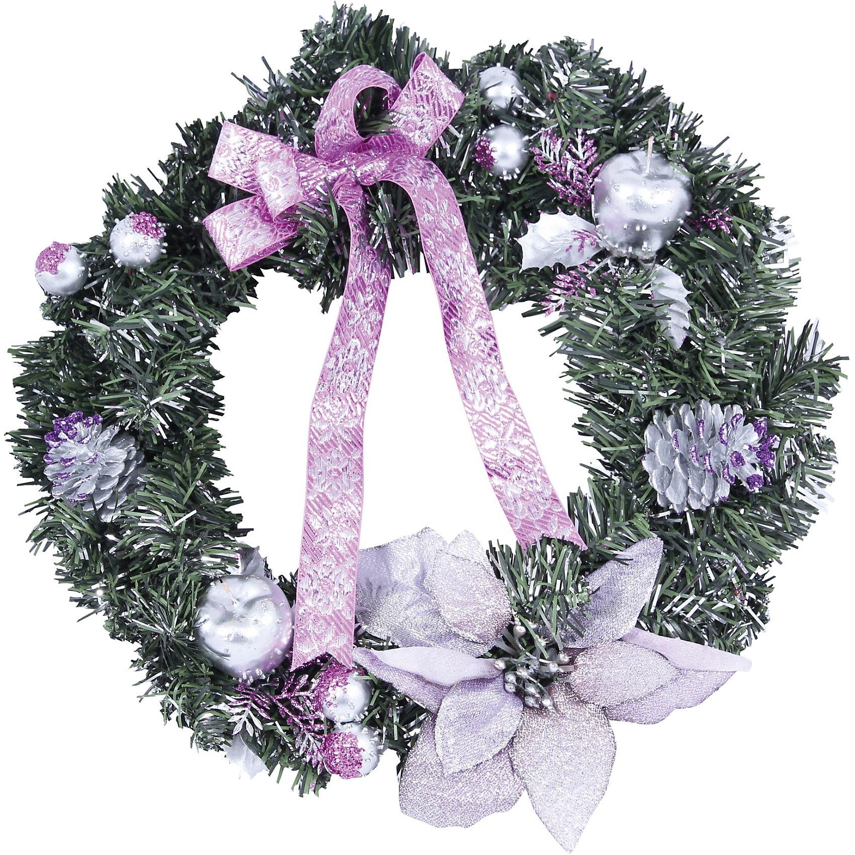 Венок рождественский, 40 см, розовые украшенияВенок рождественский, Волшебная страна станет замечательным украшением Вашего интерьера и поможет создать волшебную атмосферу новогодних и рождественских<br>праздников. Нарядный, искусно выполненный венок в виде еловых веток украшен розовыми цветами и ленточками. Венок можно повесить на двери или стены комнаты, он будет<br>чудесно смотреться и радовать детей и взрослых. <br><br>Дополнительная информация:<br><br>- Цвет украшений: розовый.<br>- Диаметр венка: 40 см.<br>- Вес: 0,363 кг. <br><br>Венок рождественский, Волшебная страна можно купить в нашем интернет-магазине.<br><br>Ширина мм: 660<br>Глубина мм: 380<br>Высота мм: 100<br>Вес г: 363<br>Возраст от месяцев: 60<br>Возраст до месяцев: 180<br>Пол: Унисекс<br>Возраст: Детский<br>SKU: 3791299