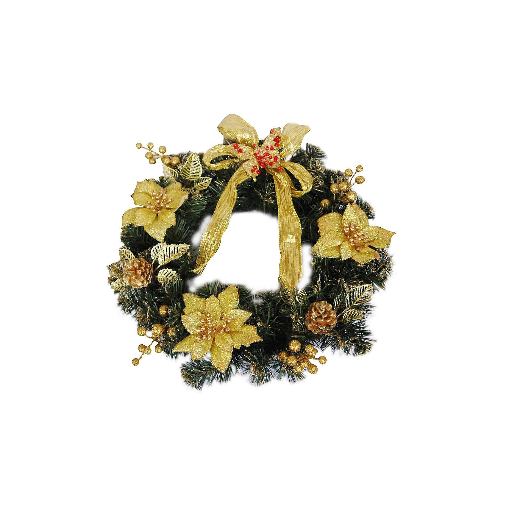 Венок рождественский, 40 см, золотые украшенияВенок рождественский, Волшебная страна станет замечательным украшением Вашего интерьера и поможет создать волшебную атмосферу новогодних и рождественских<br>праздников. Нарядный, искусно выполненный венок в виде еловых веток украшен позолоченными цветами, шишками и ленточками. Венок можно повесить на двери или стены<br>комнаты, он будет чудесно смотреться и радовать детей и взрослых. <br><br>Дополнительная информация:<br><br>- Цвет украшений: золотой.<br>- Диаметр венка: 40 см.<br>- Размер упаковки: 38 х 39 х 11,5 см.<br>- Вес: 0,354 кг. <br><br>Венок рождественский, Волшебная страна можно купить в нашем интернет-магазине.<br><br>Ширина мм: 660<br>Глубина мм: 390<br>Высота мм: 120<br>Вес г: 354<br>Возраст от месяцев: 60<br>Возраст до месяцев: 180<br>Пол: Унисекс<br>Возраст: Детский<br>SKU: 3791300